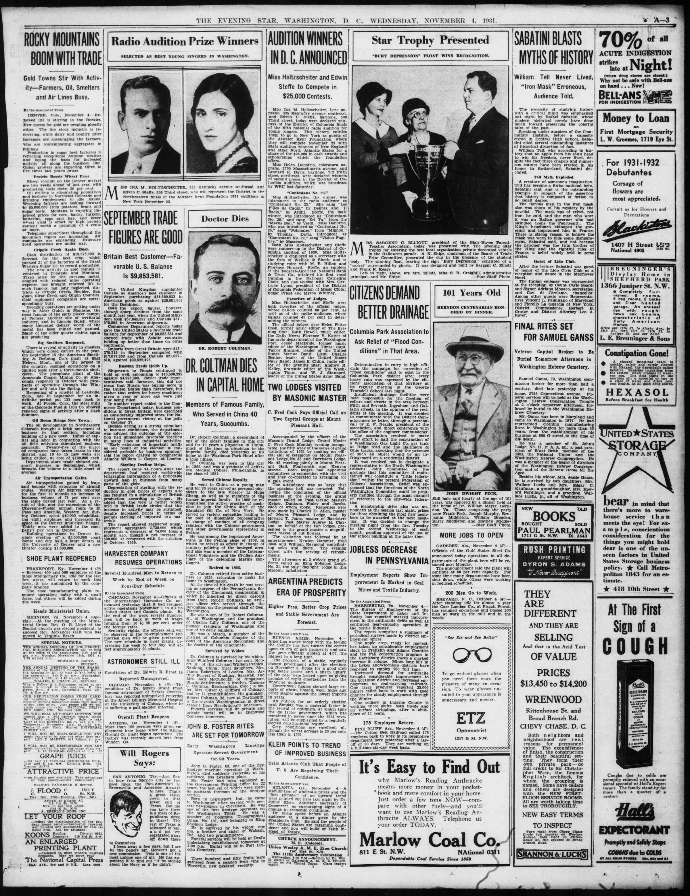 4 Kasım 1931 tarihli Evening Star Gazetesi Sayfa 3
