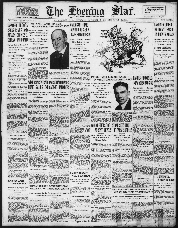 5 Kasım 1931 tarihli Evening Star Gazetesi Sayfa 1