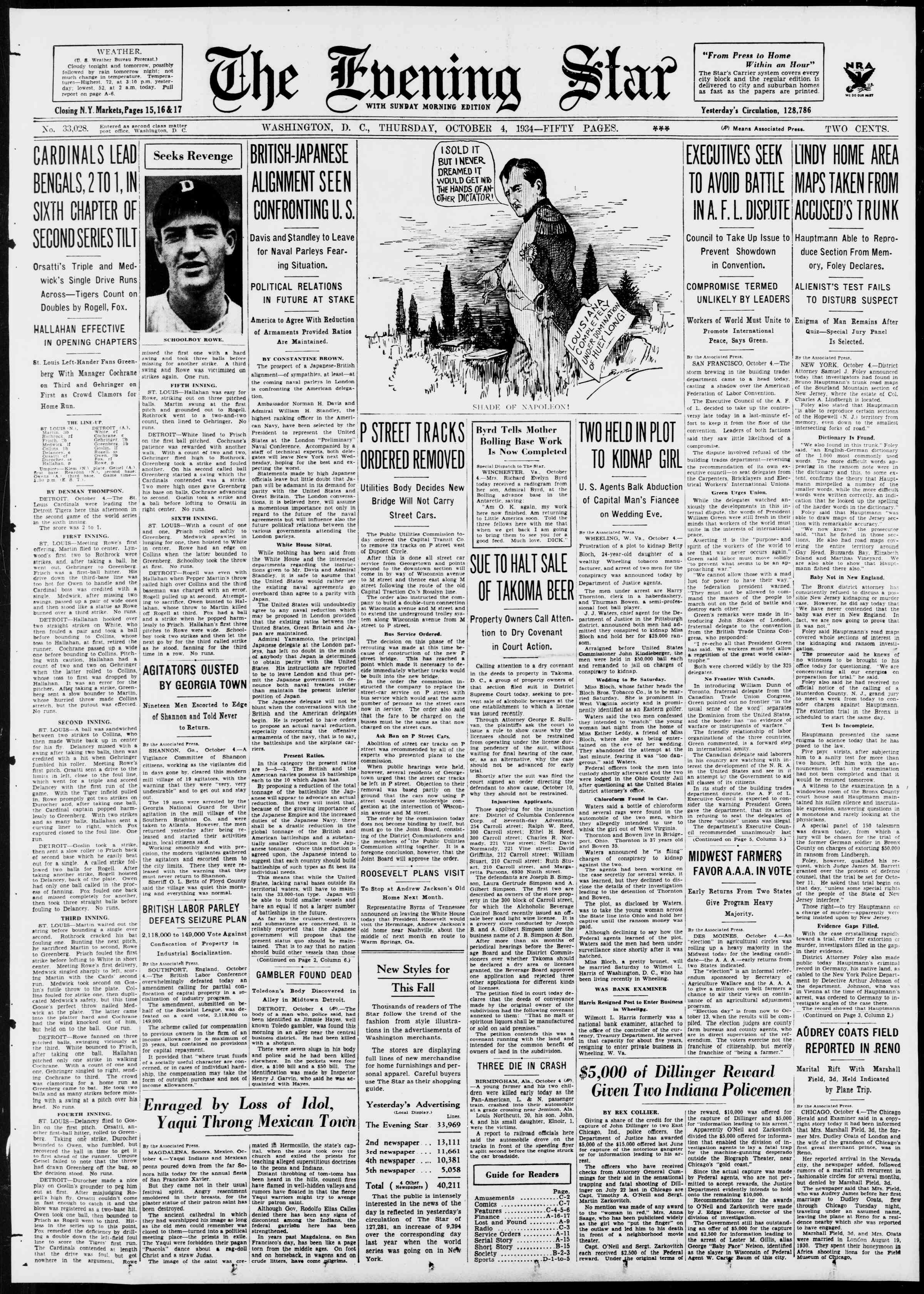4 Ekim 1934 Tarihli Evening Star Dergisi Sayfa 1