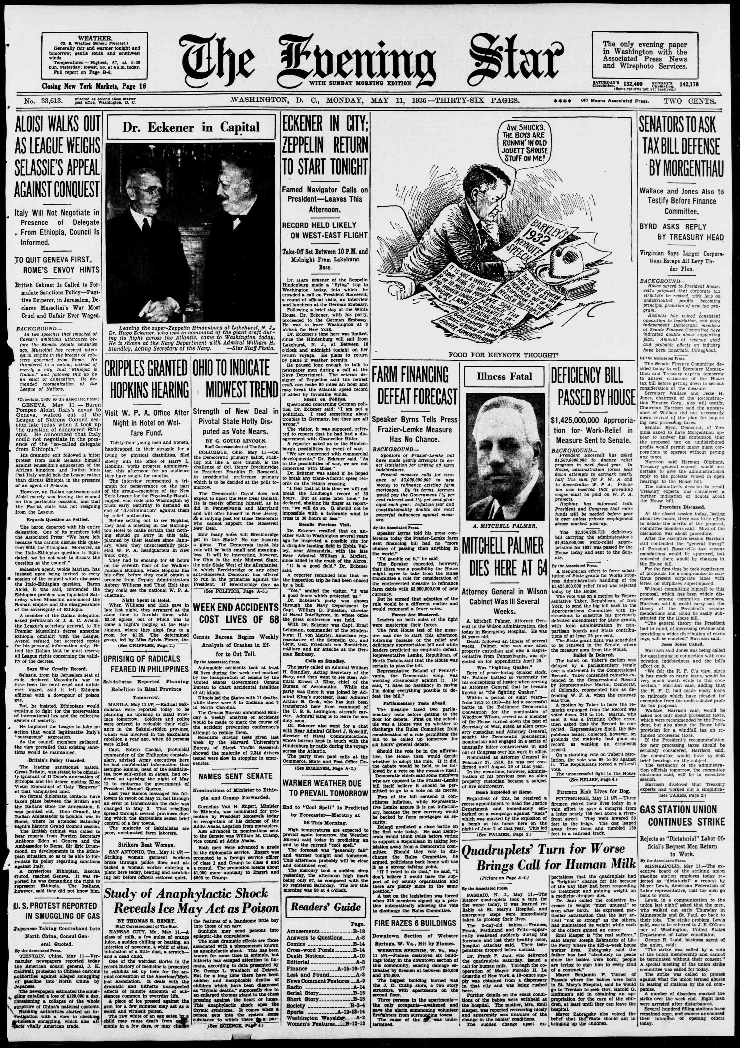 11 Mayıs 1936 Tarihli Evening Star Gazetesi Sayfa 1
