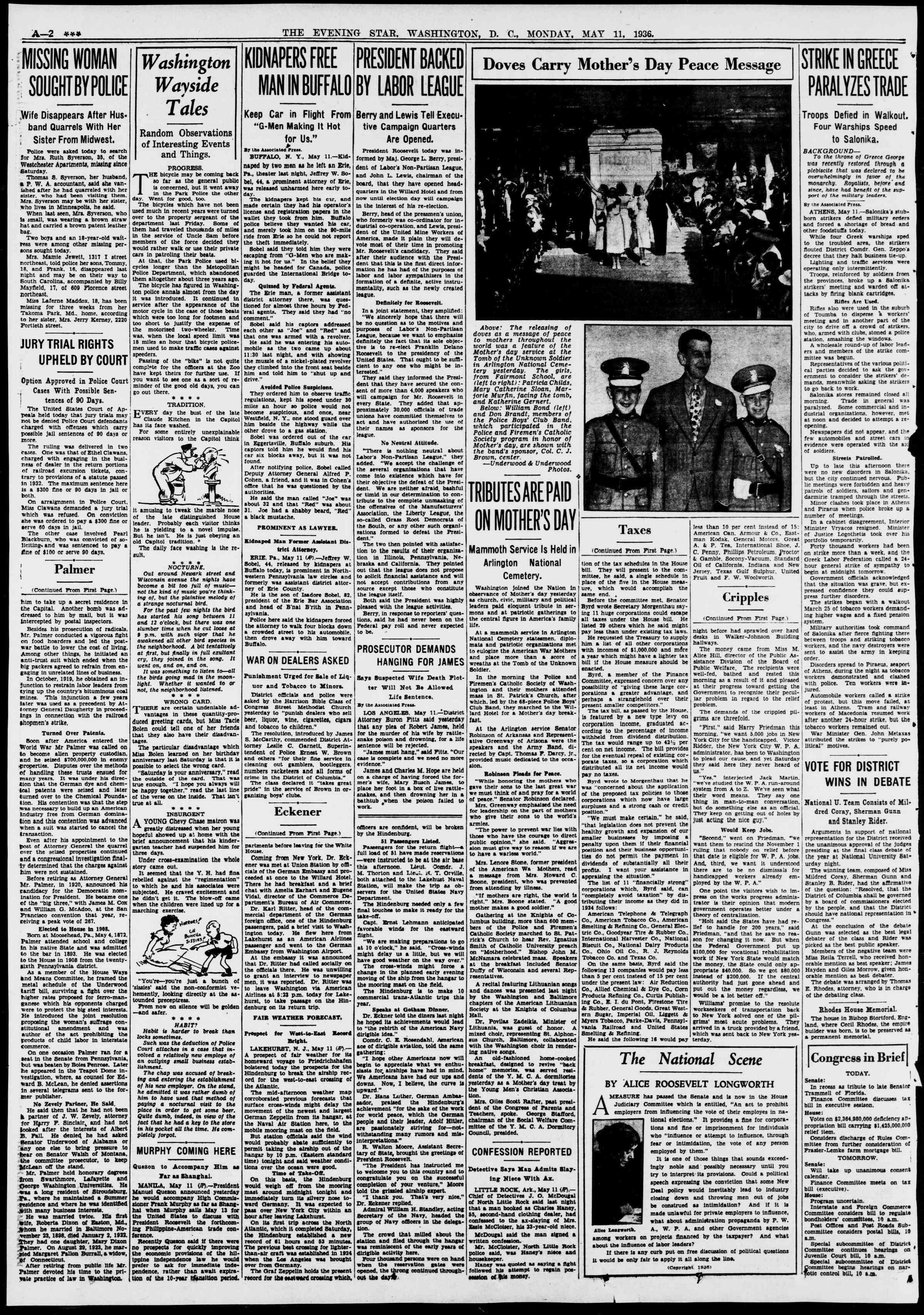 11 Mayıs 1936 Tarihli Evening Star Gazetesi Sayfa 2