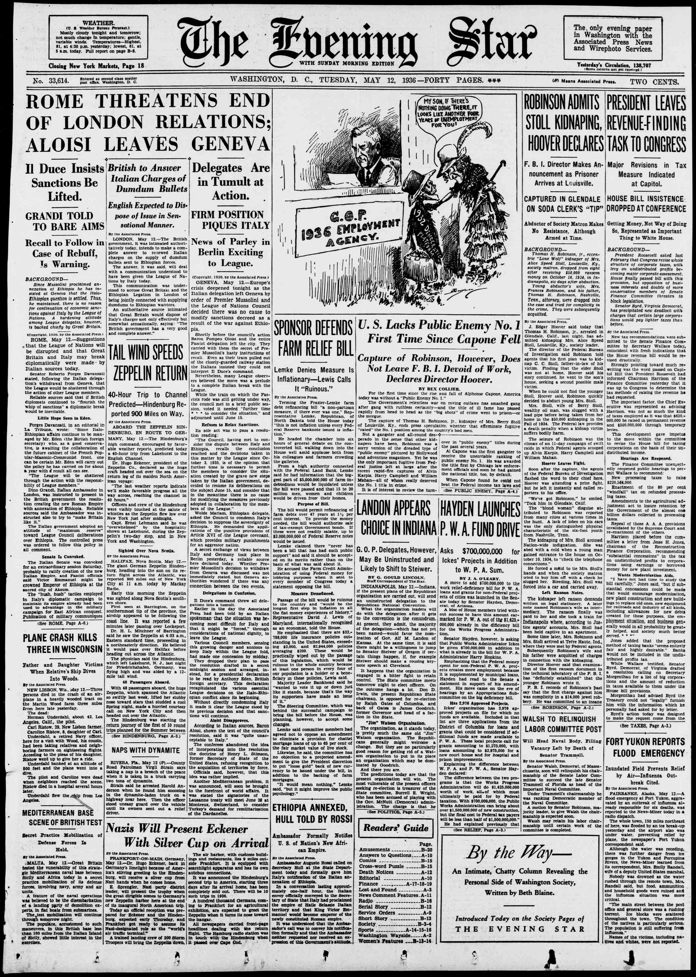 12 Mayıs 1936 Tarihli Evening Star Gazetesi Sayfa 1
