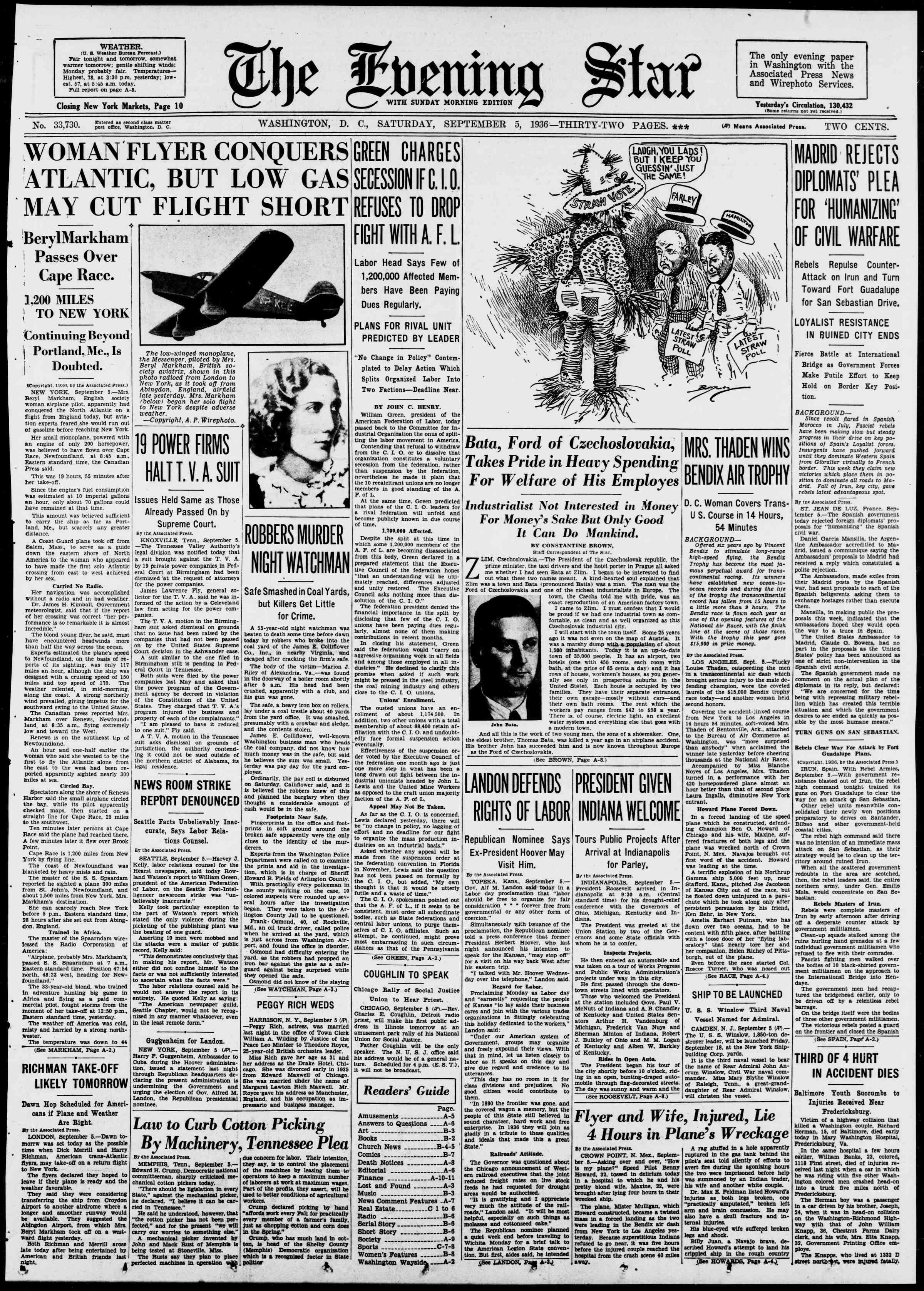 5 Eylül 1936 Tarihli Evening Star Gazetesi Sayfa 1