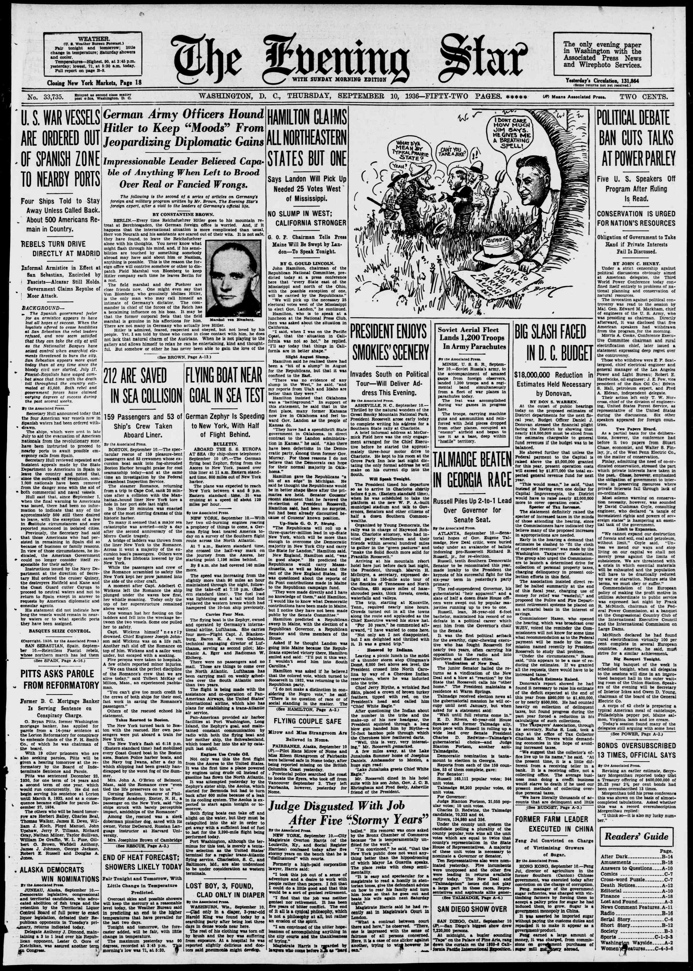10 Eylül 1936 Tarihli Evening Star Gazetesi Sayfa 1