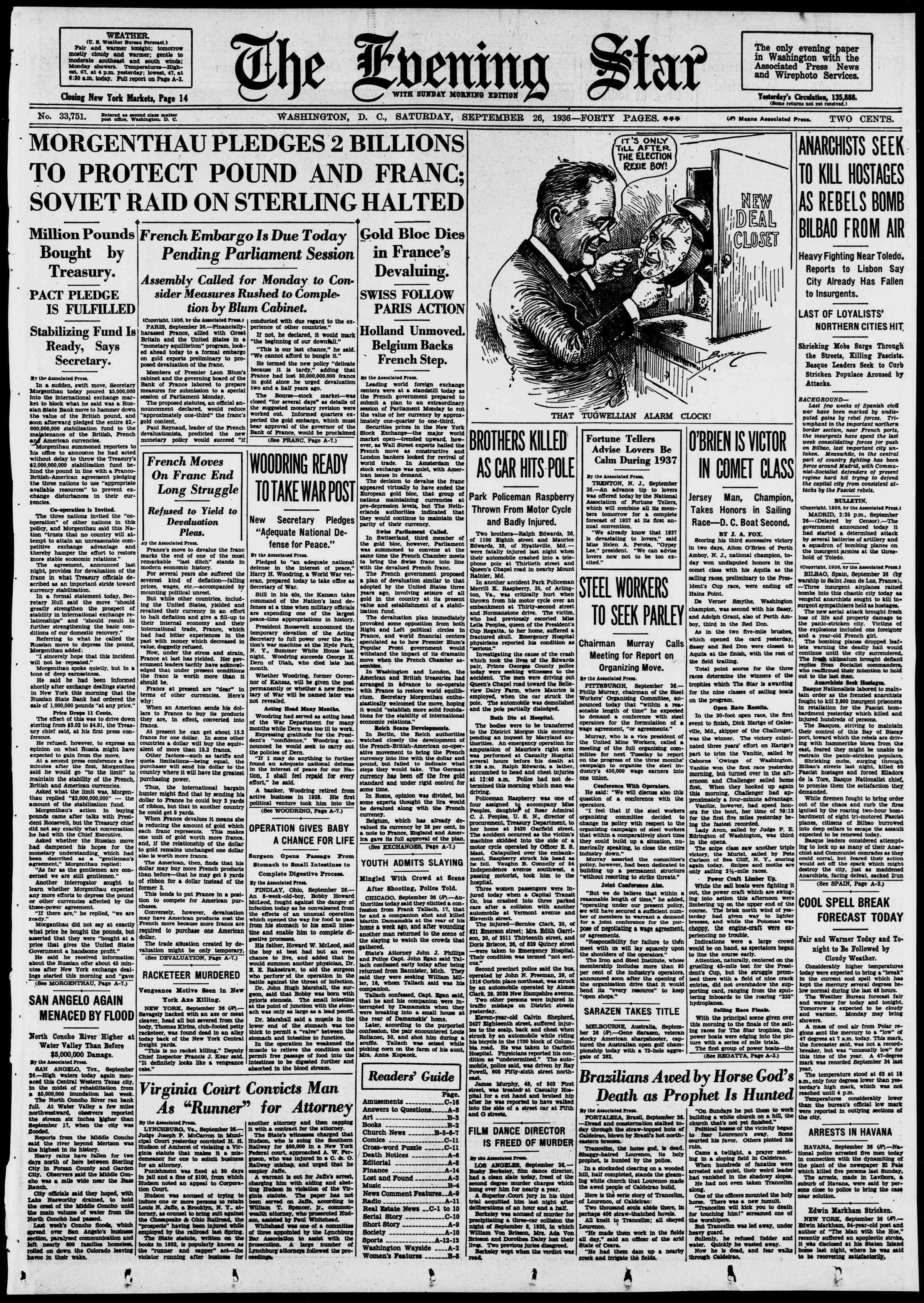 26 Eylül 1936 Tarihli Evening Star Gazetesi Sayfa 1