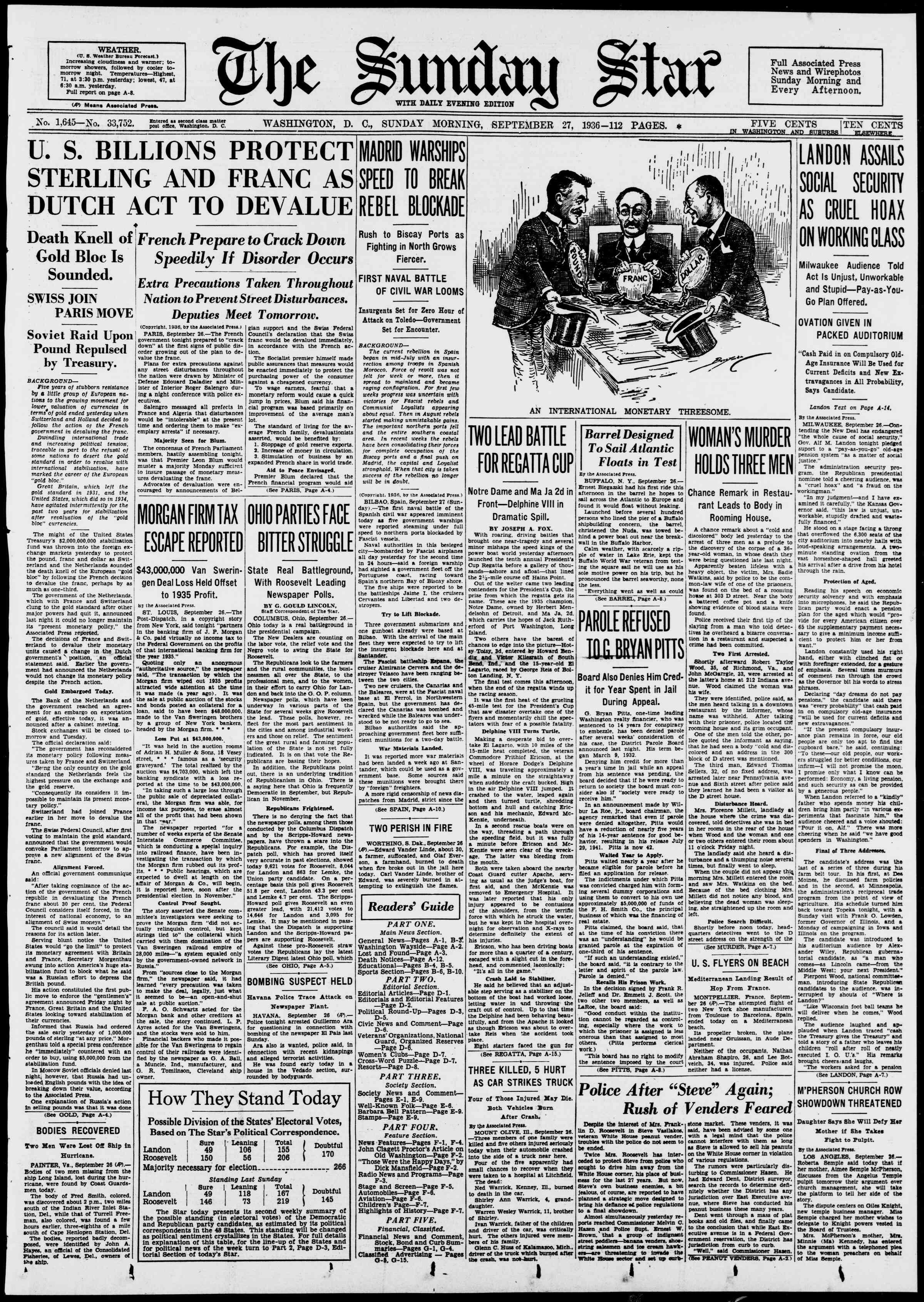 27 Eylül 1936 Tarihli Evening Star Gazetesi Sayfa 1