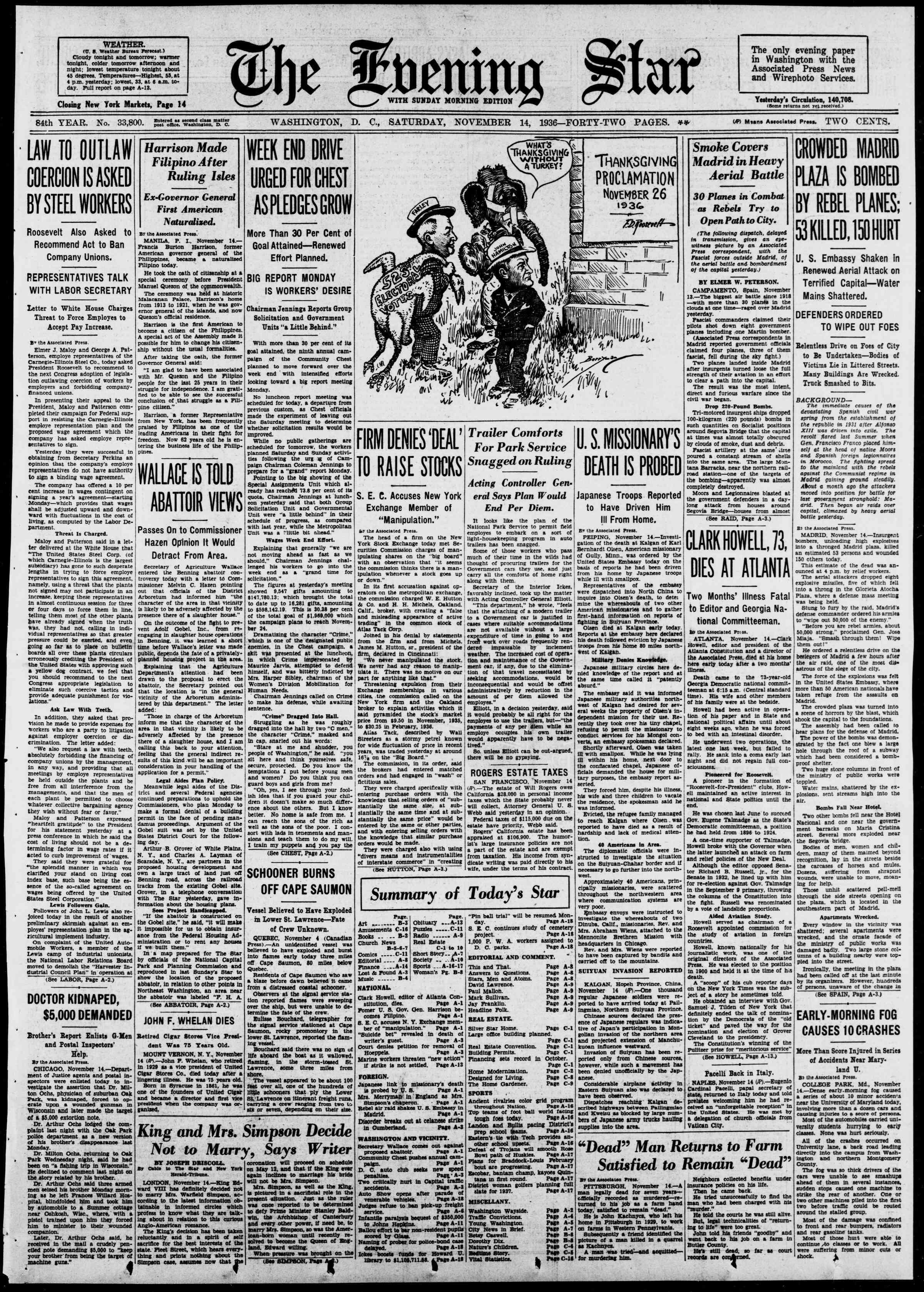 14 Kasım 1936 Tarihli Evening Star Dergisi Sayfa 1