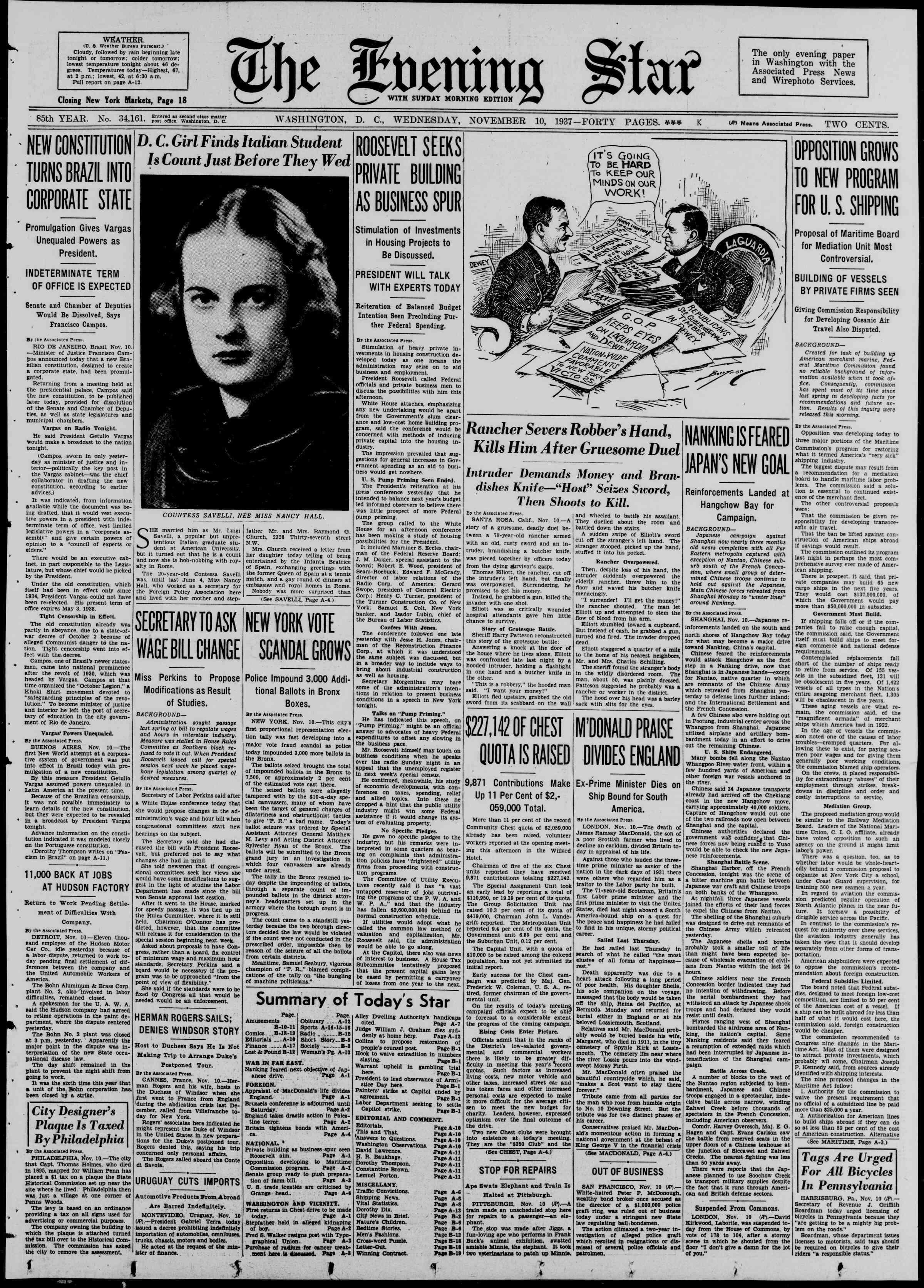 10 Kasım 1937 Tarihli Evening Star Gazetesi Sayfa 1