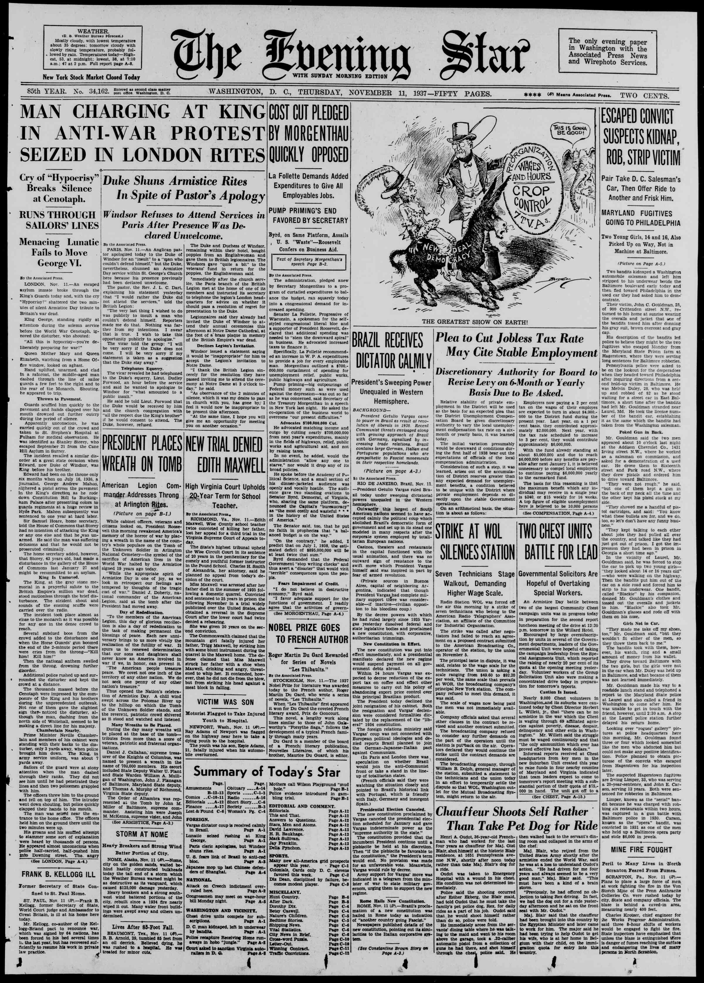 November 11, 1937 Tarihli Evening Star Gazetesi Sayfa 1