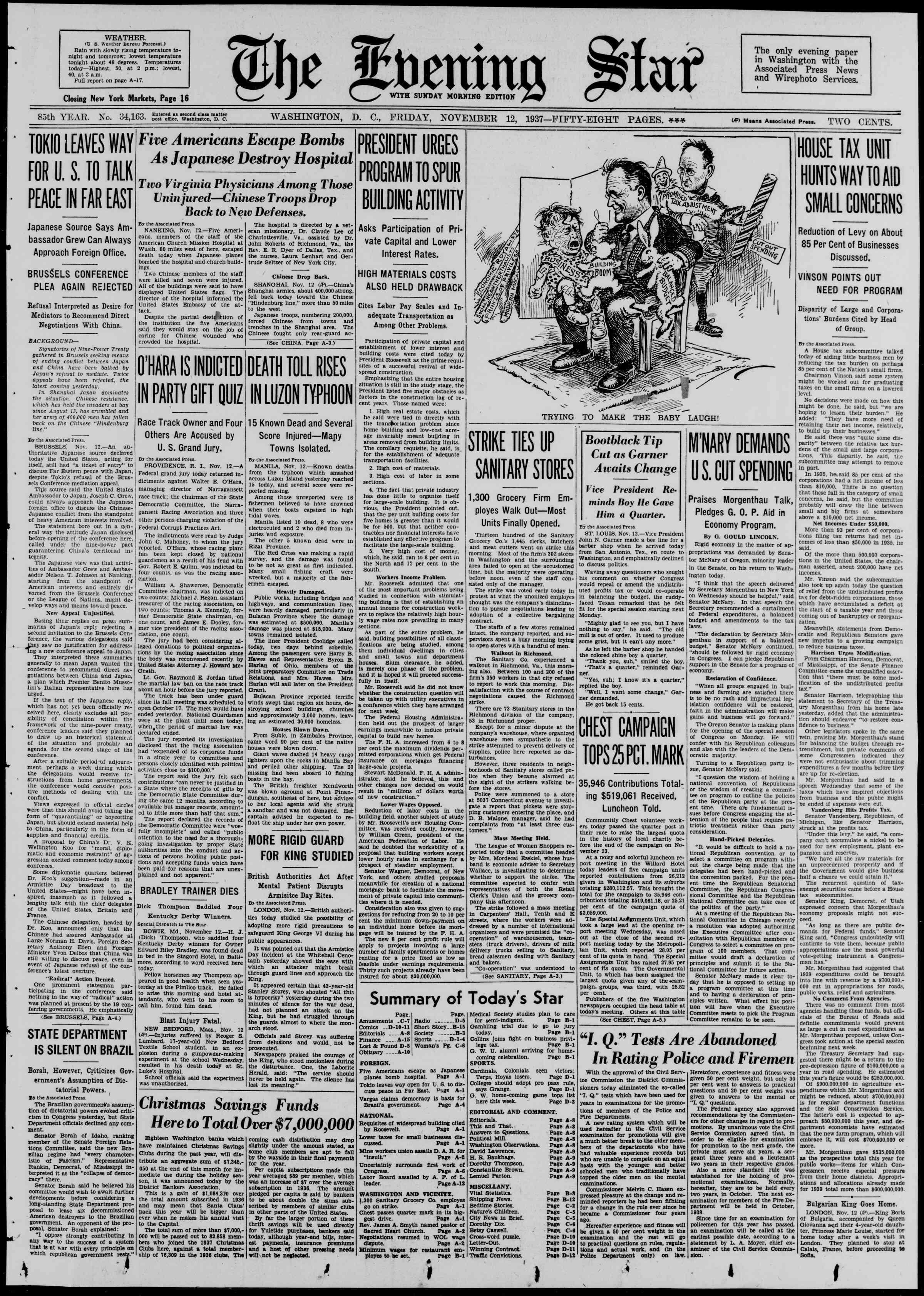 12 Kasım 1937 Tarihli Evening Star Gazetesi Sayfa 1