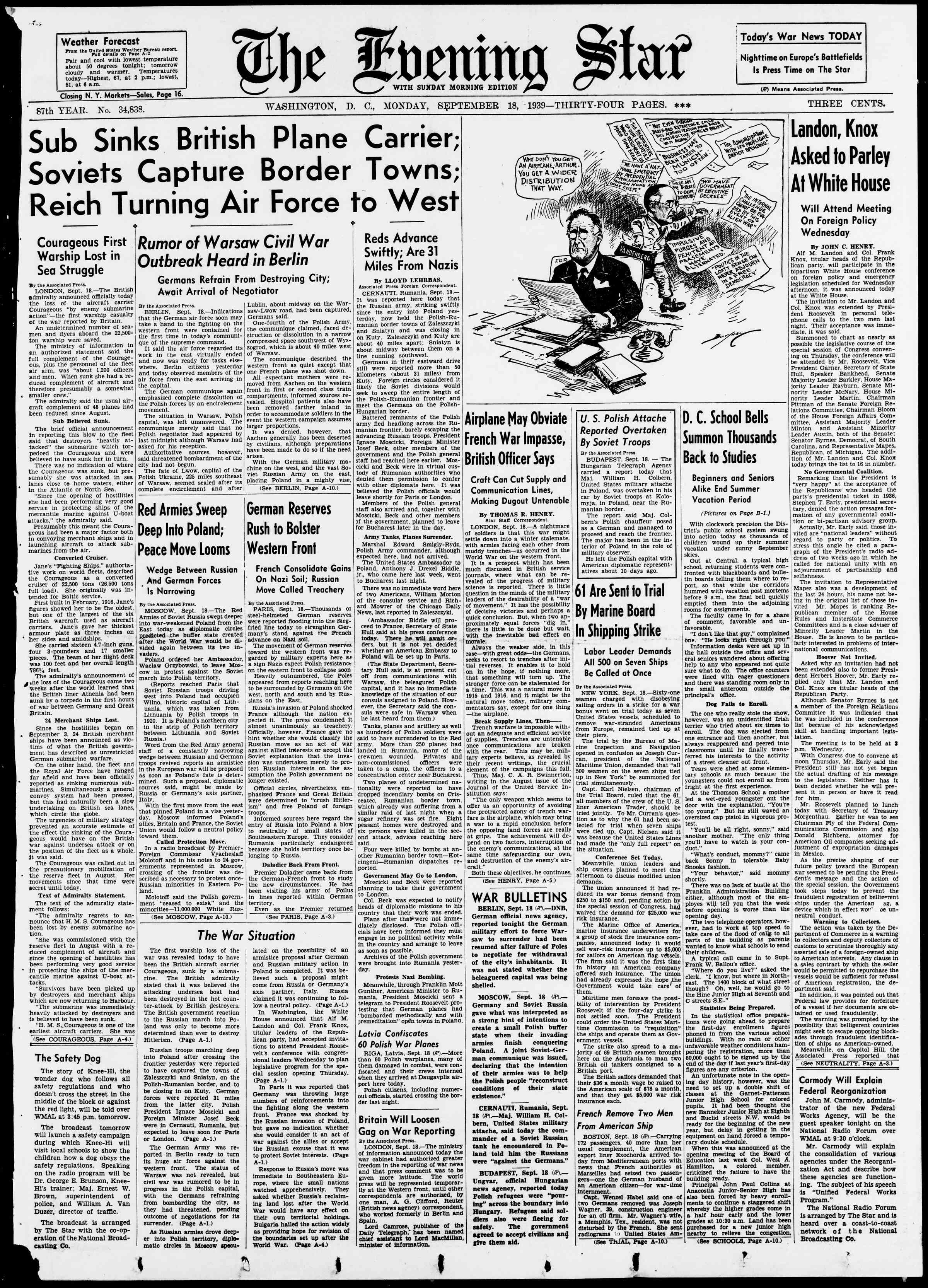 18 Eylül 1939 Tarihli Evening Star Gazetesi Sayfa 1