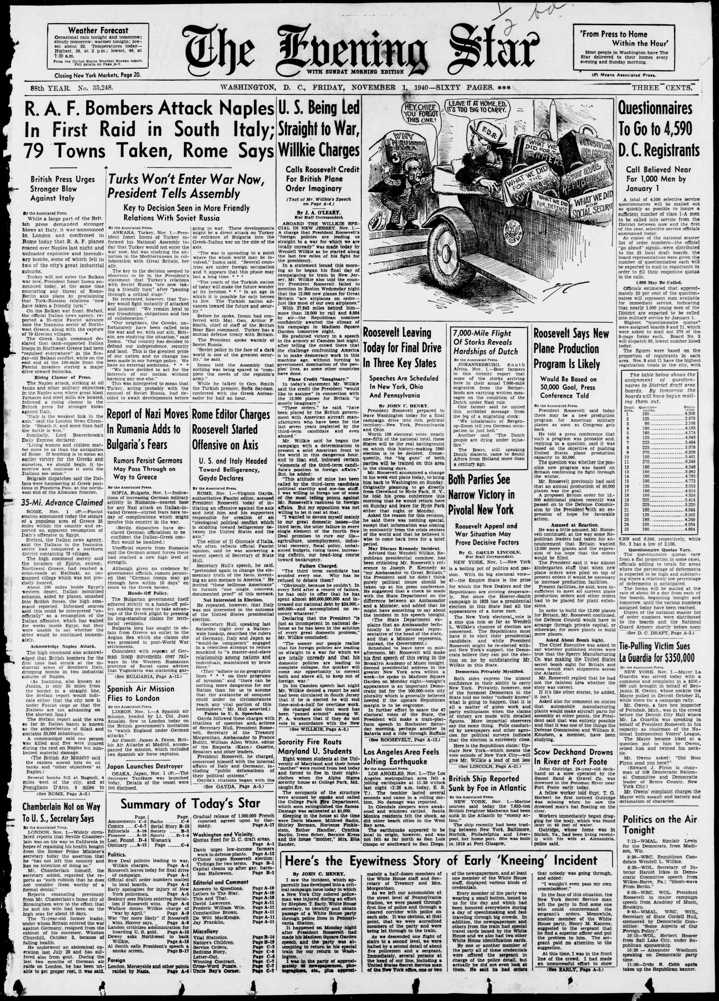 1 Kasım 1940 tarihli Evening Star Gazetesi Sayfa 1