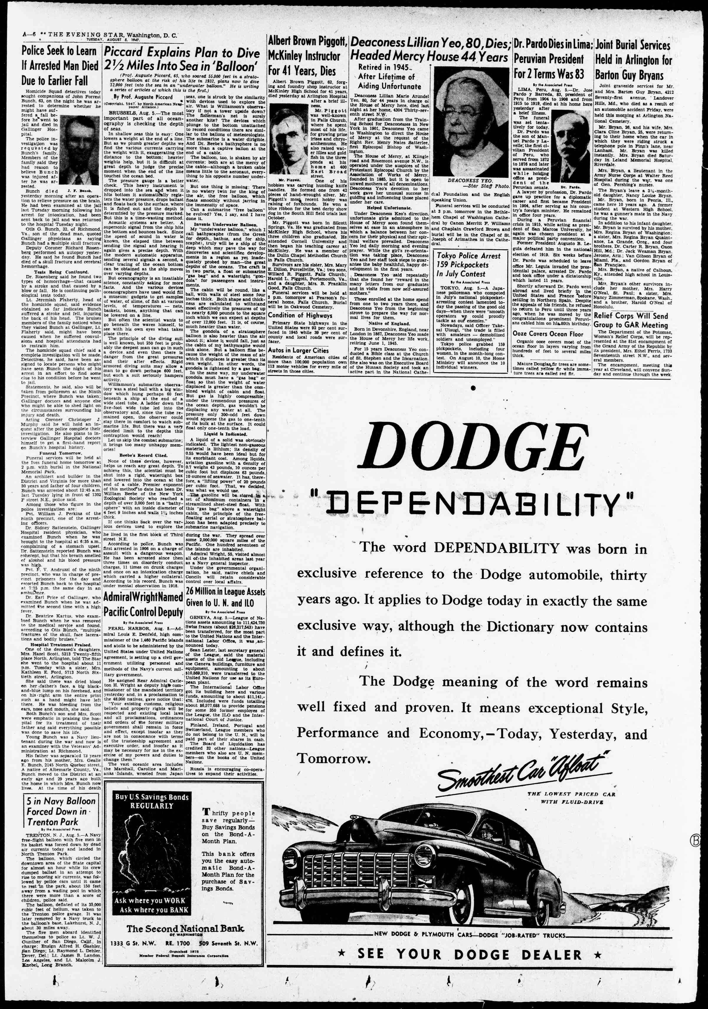 Newspaper of Evening Star dated August 5, 1947 Page 6