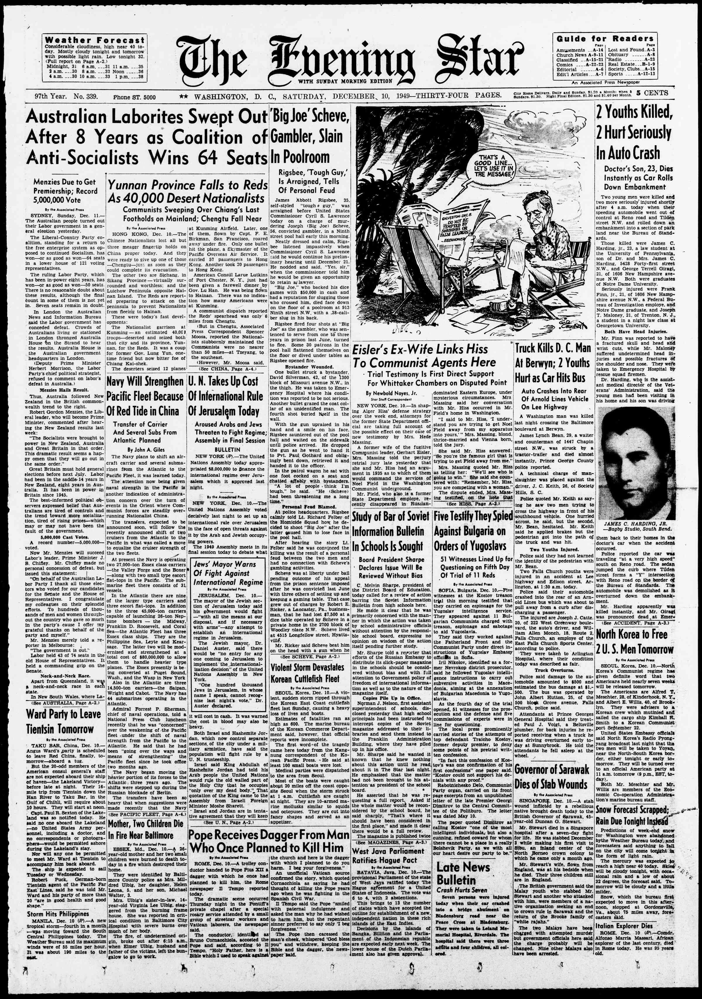 10 Aralık 1949 Tarihli Evening Star Gazetesi Sayfa 1