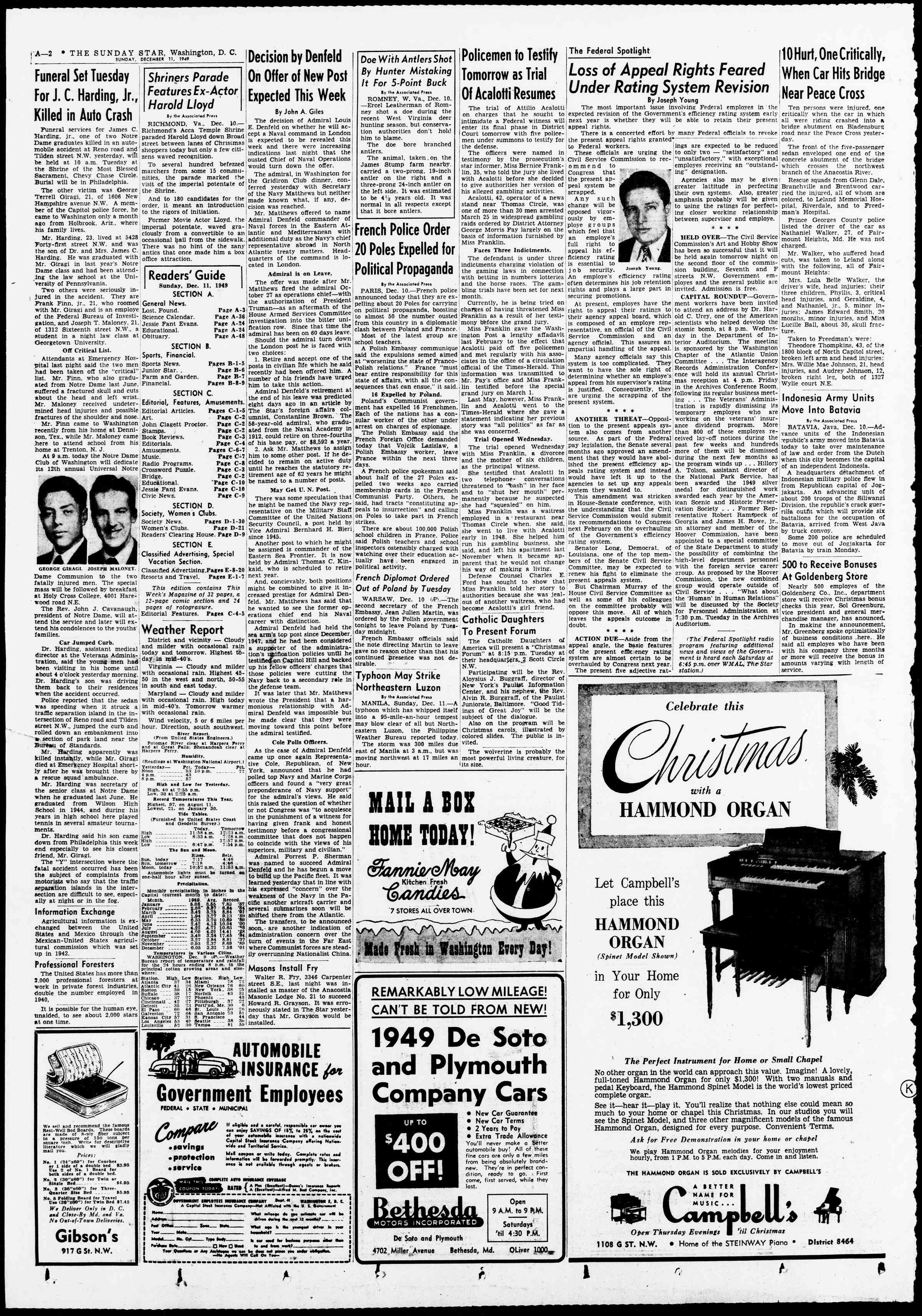 11 Aralık 1949 tarihli Evening Star Gazetesi Sayfa 2