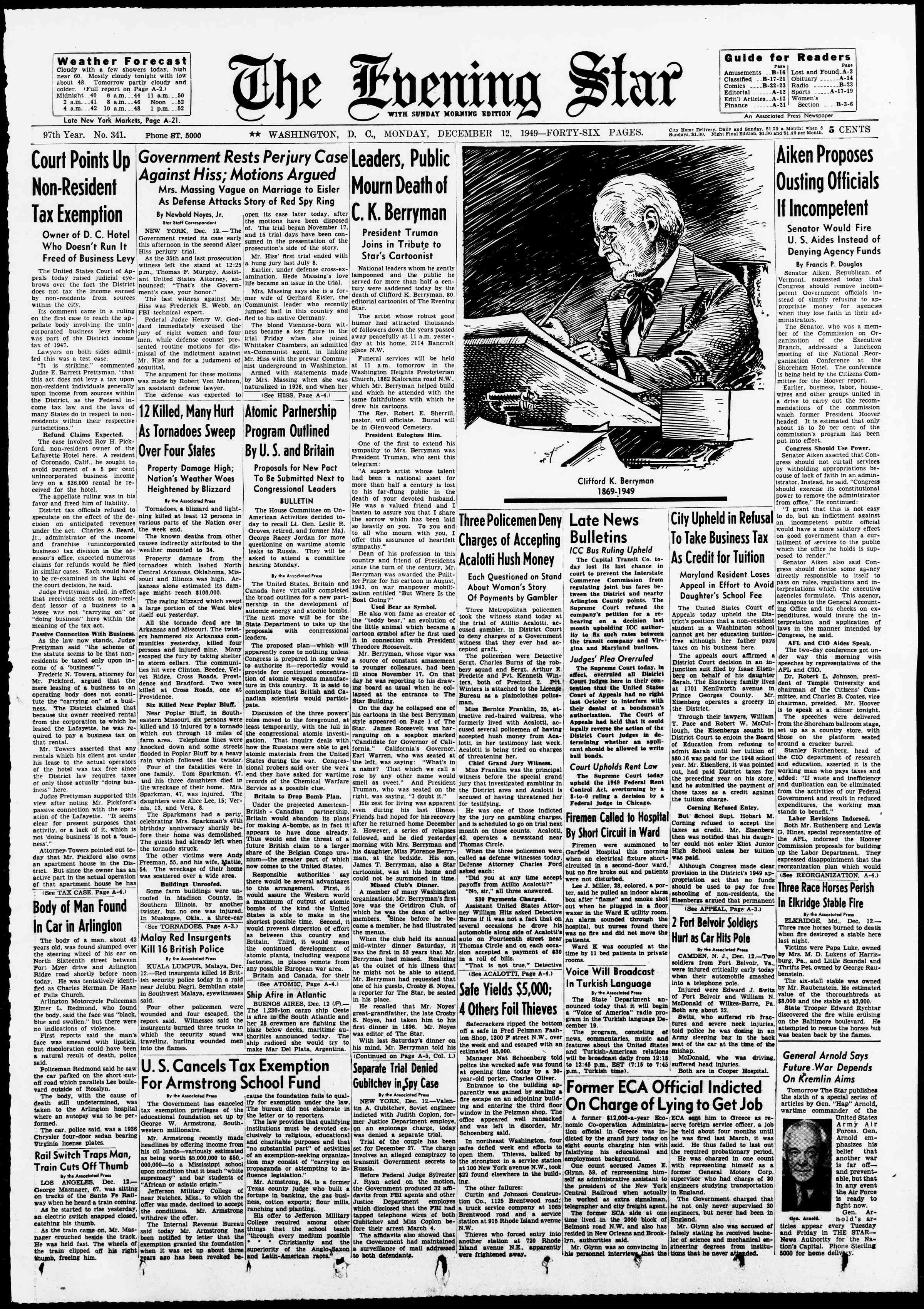 12 Aralık 1949 tarihli Evening Star Gazetesi Sayfa 1