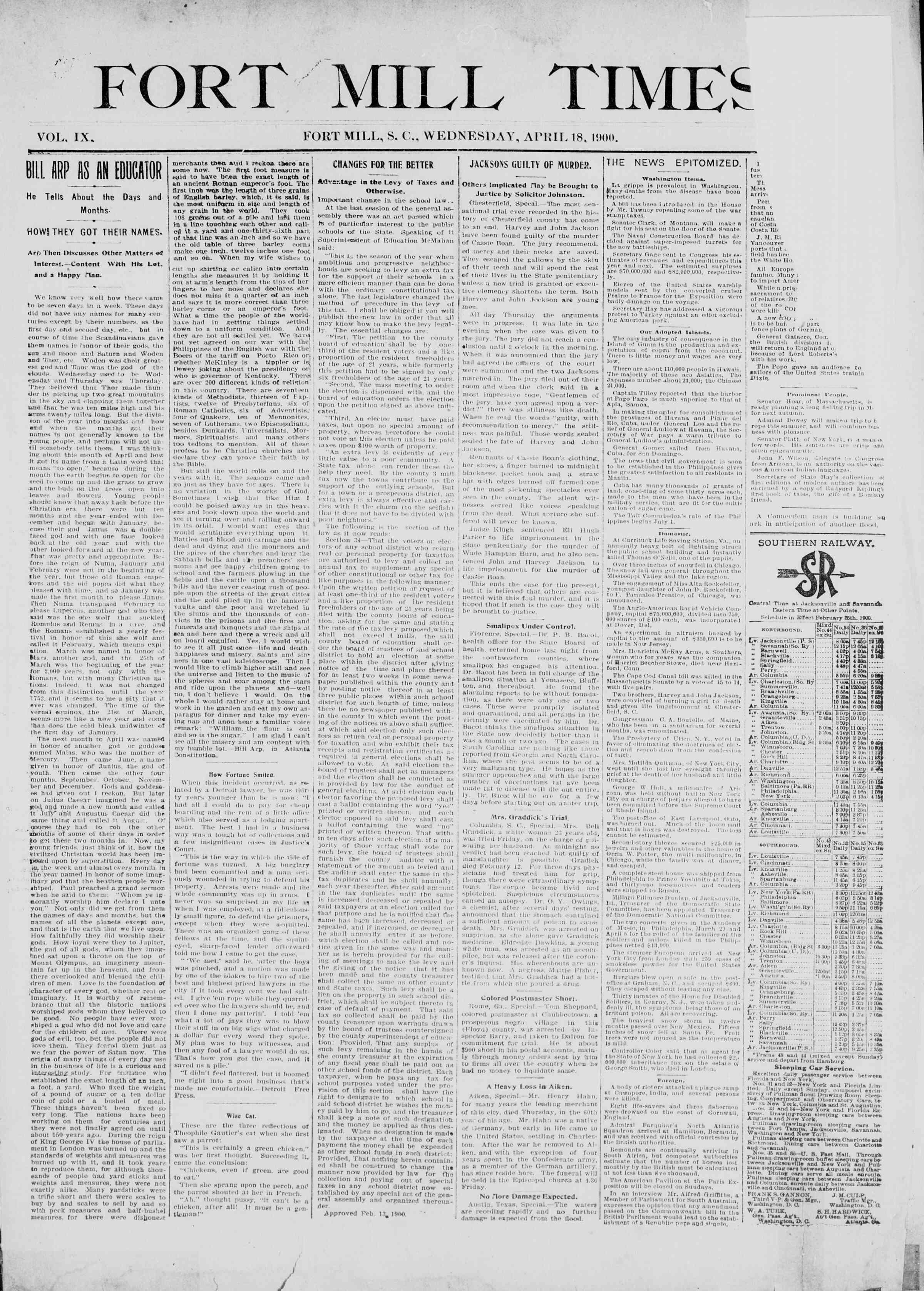 18 Nisan 1900 Tarihli Fort Mill Times Dergisi Sayfa 1