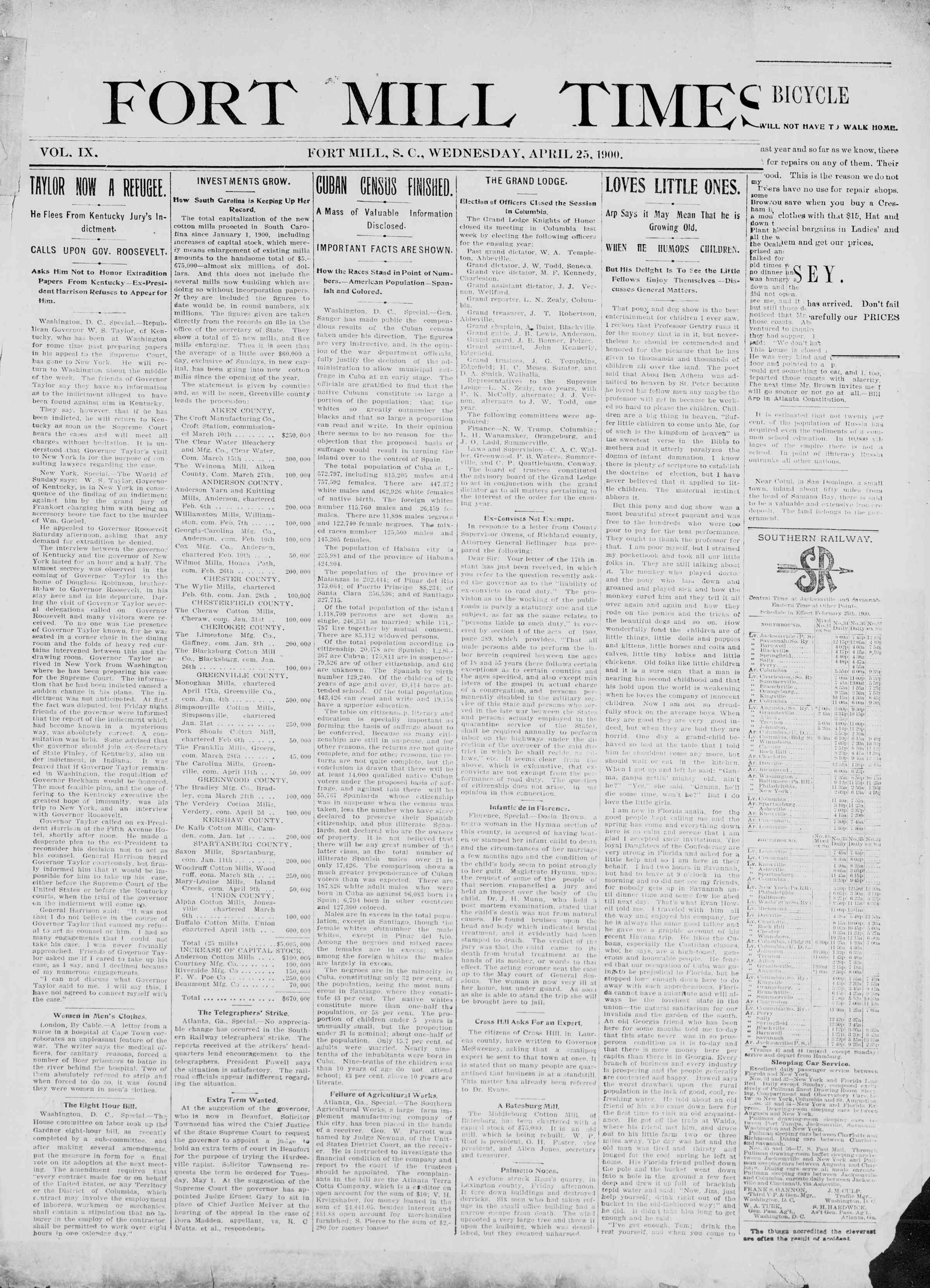 25 Nisan 1900 Tarihli Fort Mill Times Dergisi Sayfa 1