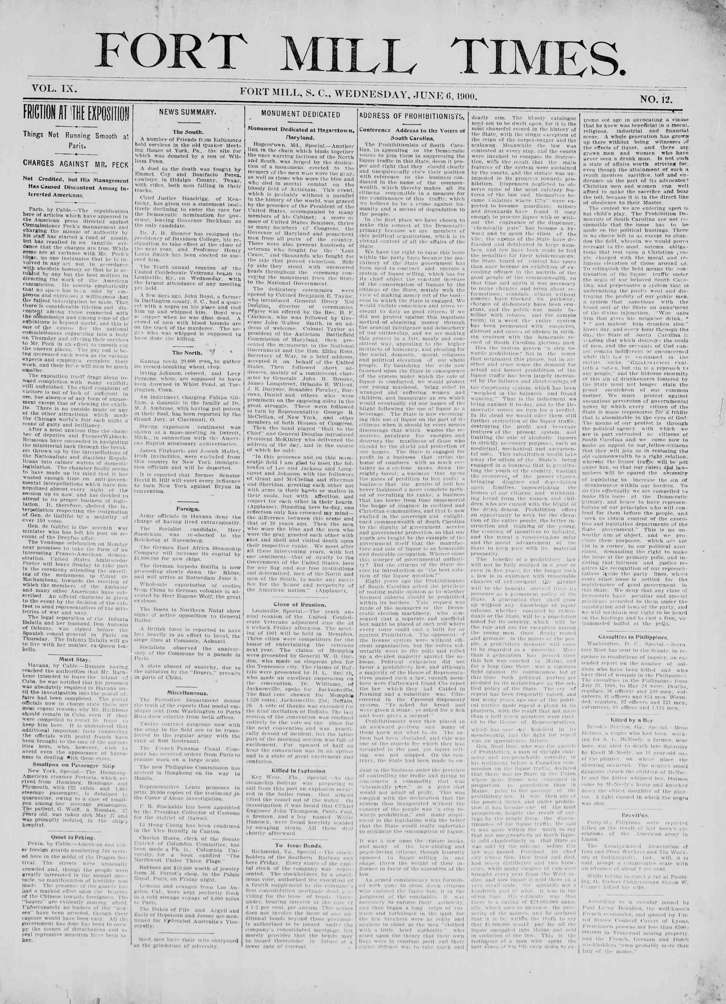 June 6, 1900 Tarihli Fort Mill Times Dergisi Sayfa 1