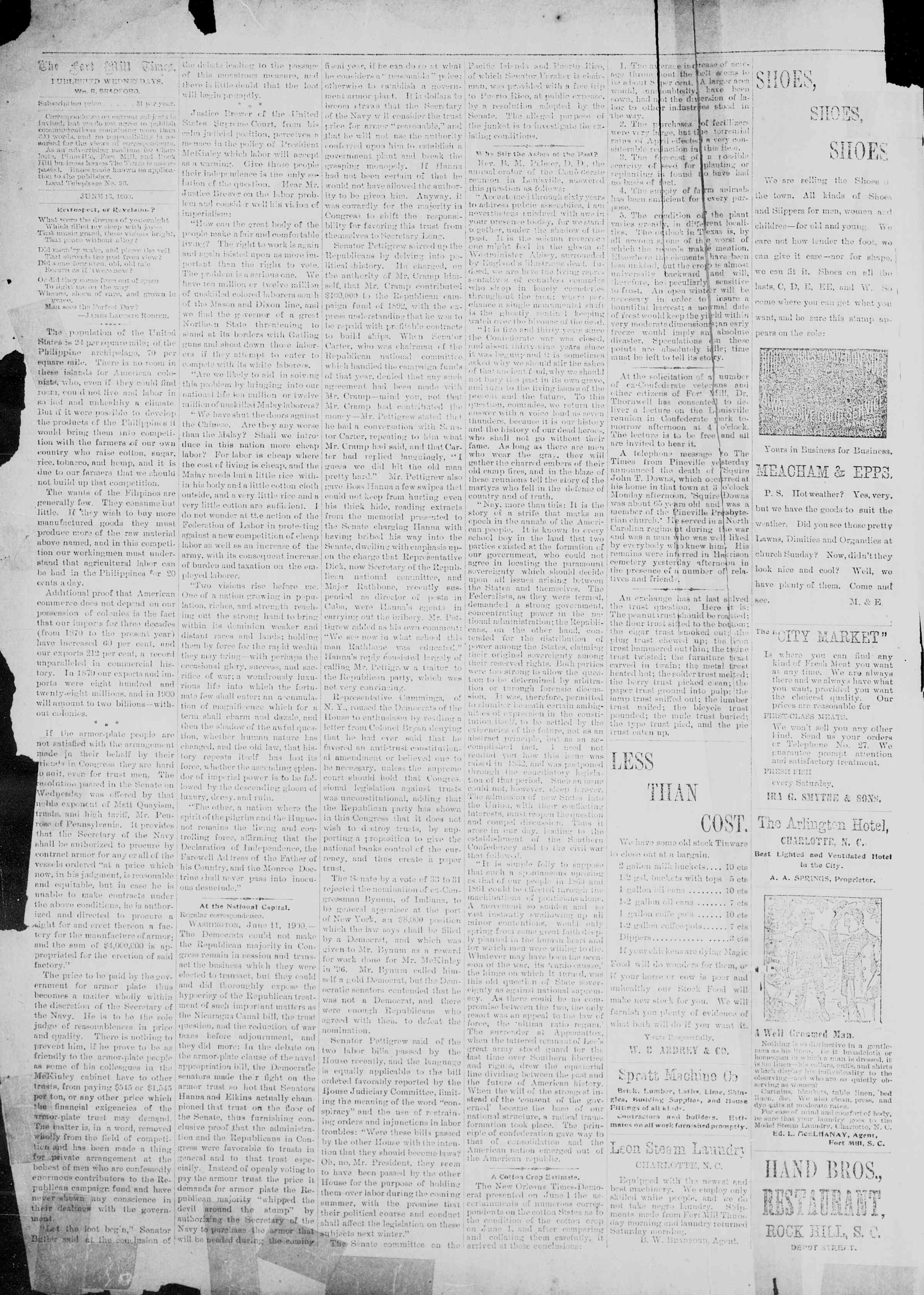 13 Haziran 1900 Tarihli Fort Mill Times Gazetesi Sayfa 2
