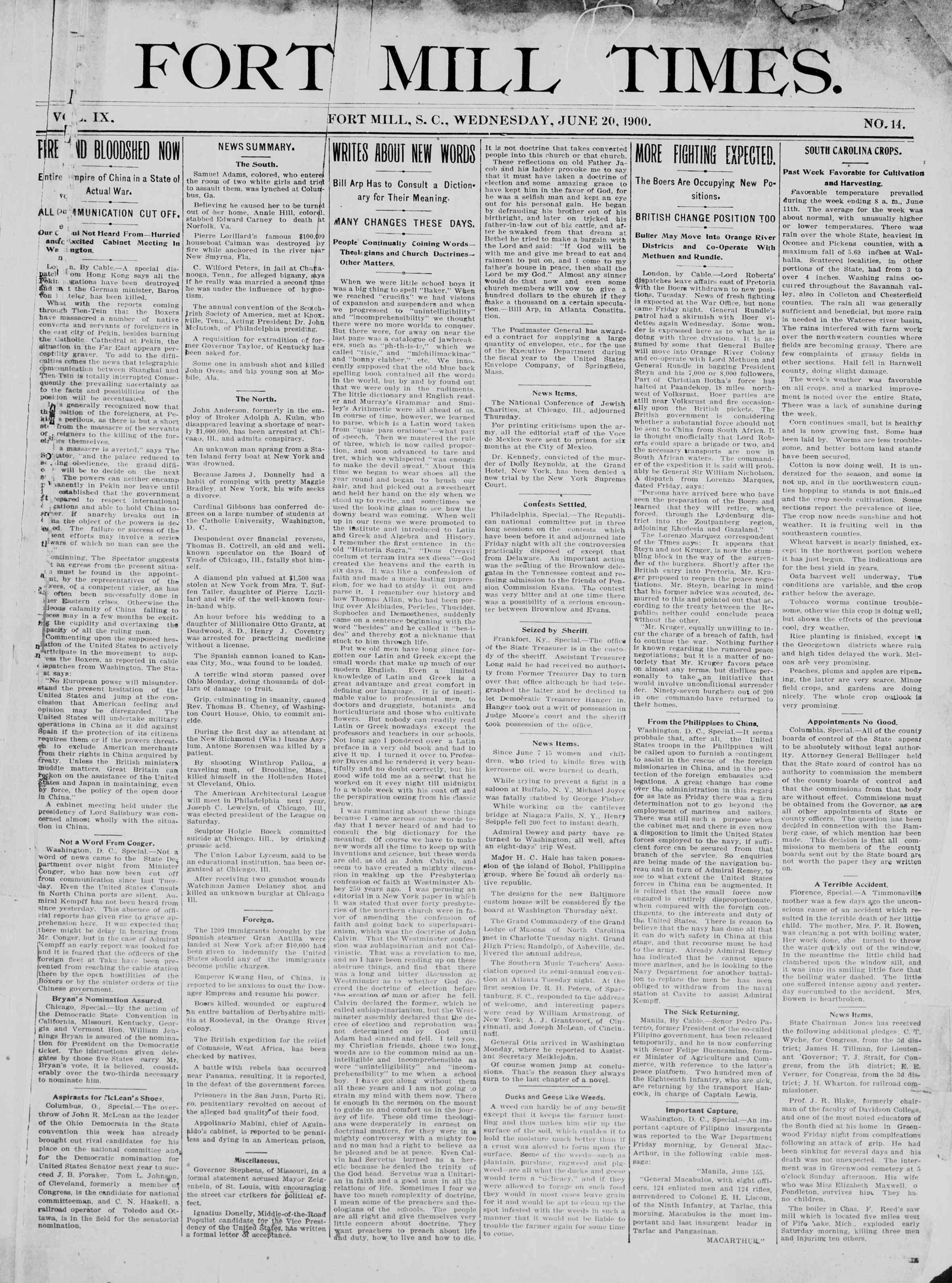 20 Haziran 1900 Tarihli Fort Mill Times Dergisi Sayfa 1