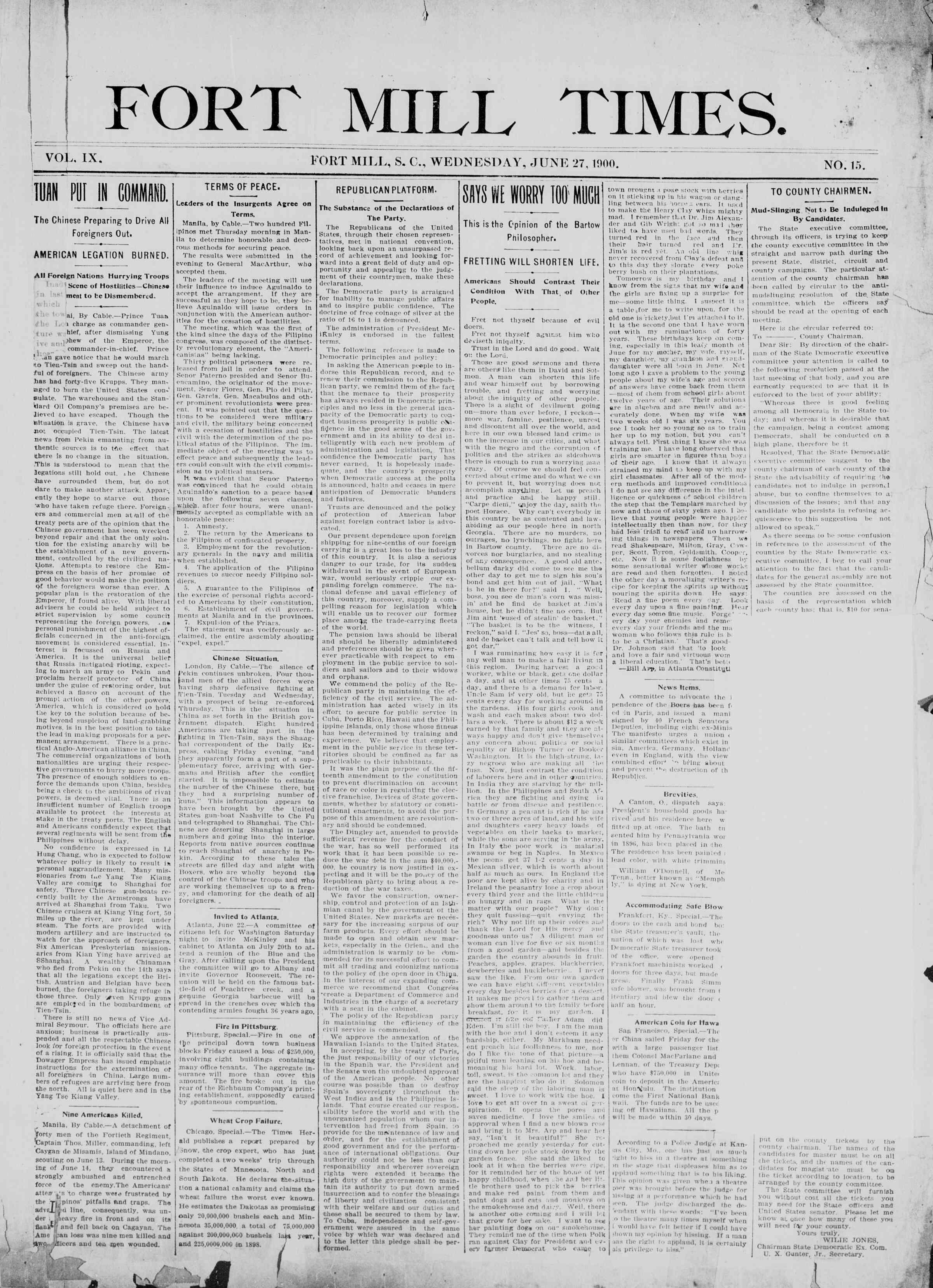27 Haziran 1900 Tarihli Fort Mill Times Dergisi Sayfa 1