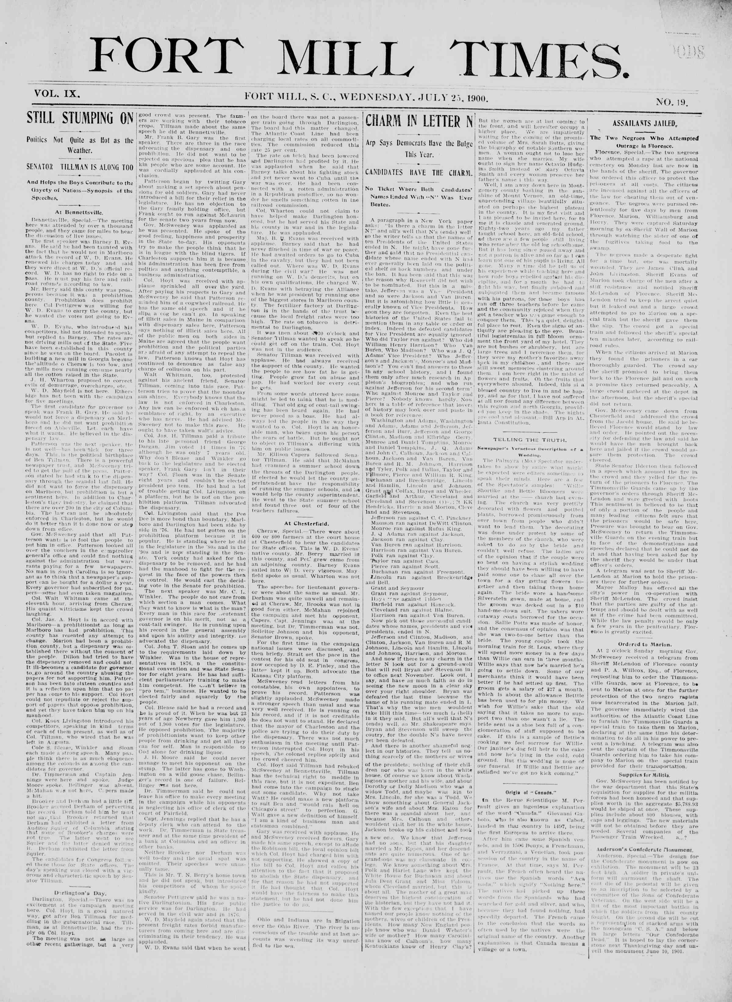 25 Temmuz 1900 Tarihli Fort Mill Times Dergisi Sayfa 1
