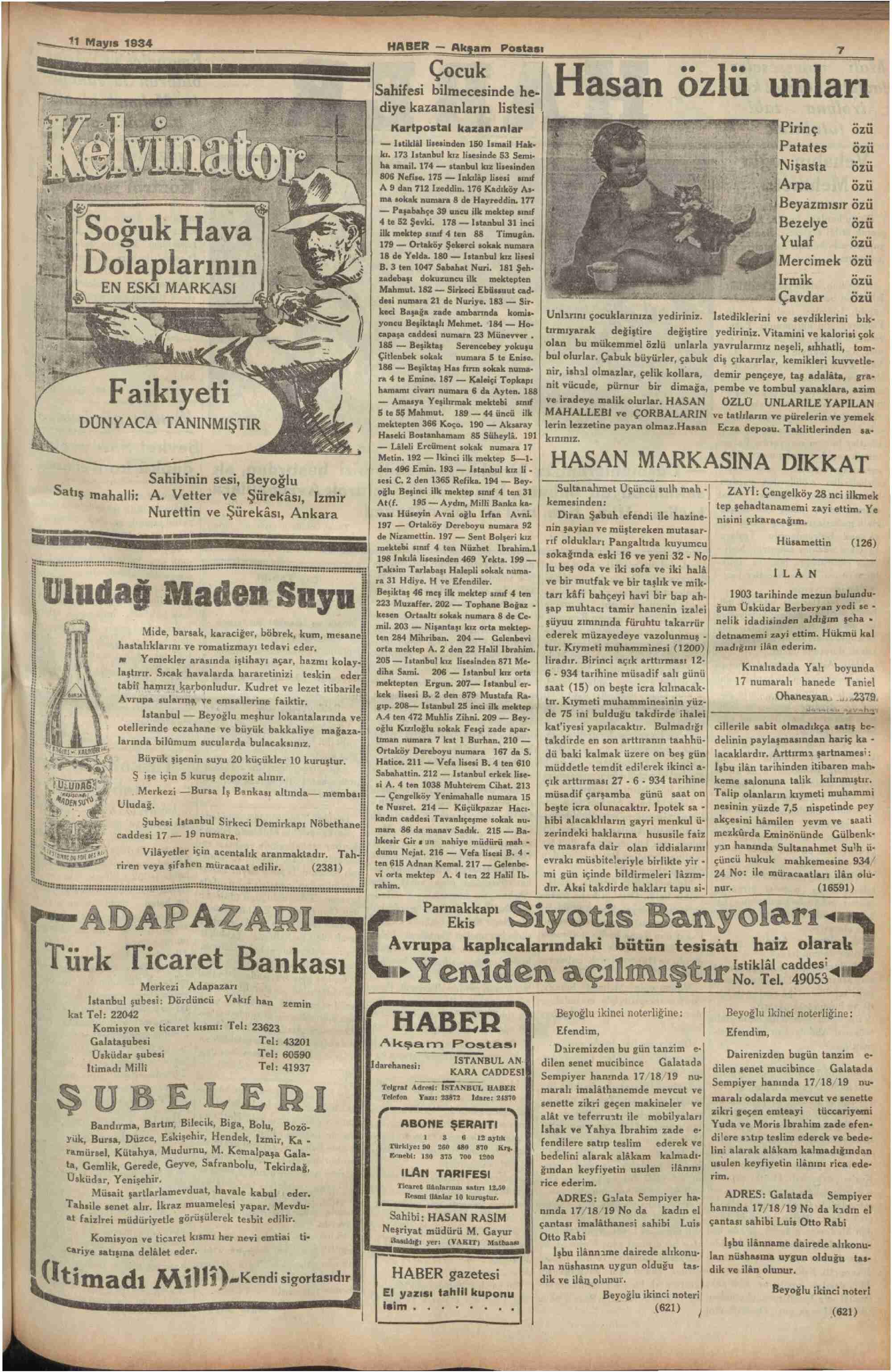 11 Mayıs 1934 Tarihli Haber Dergisi Sayfa 7
