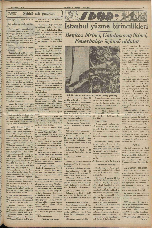 8 Eylül 1934 Tarihli Haber Gazetesi Sayfa 5