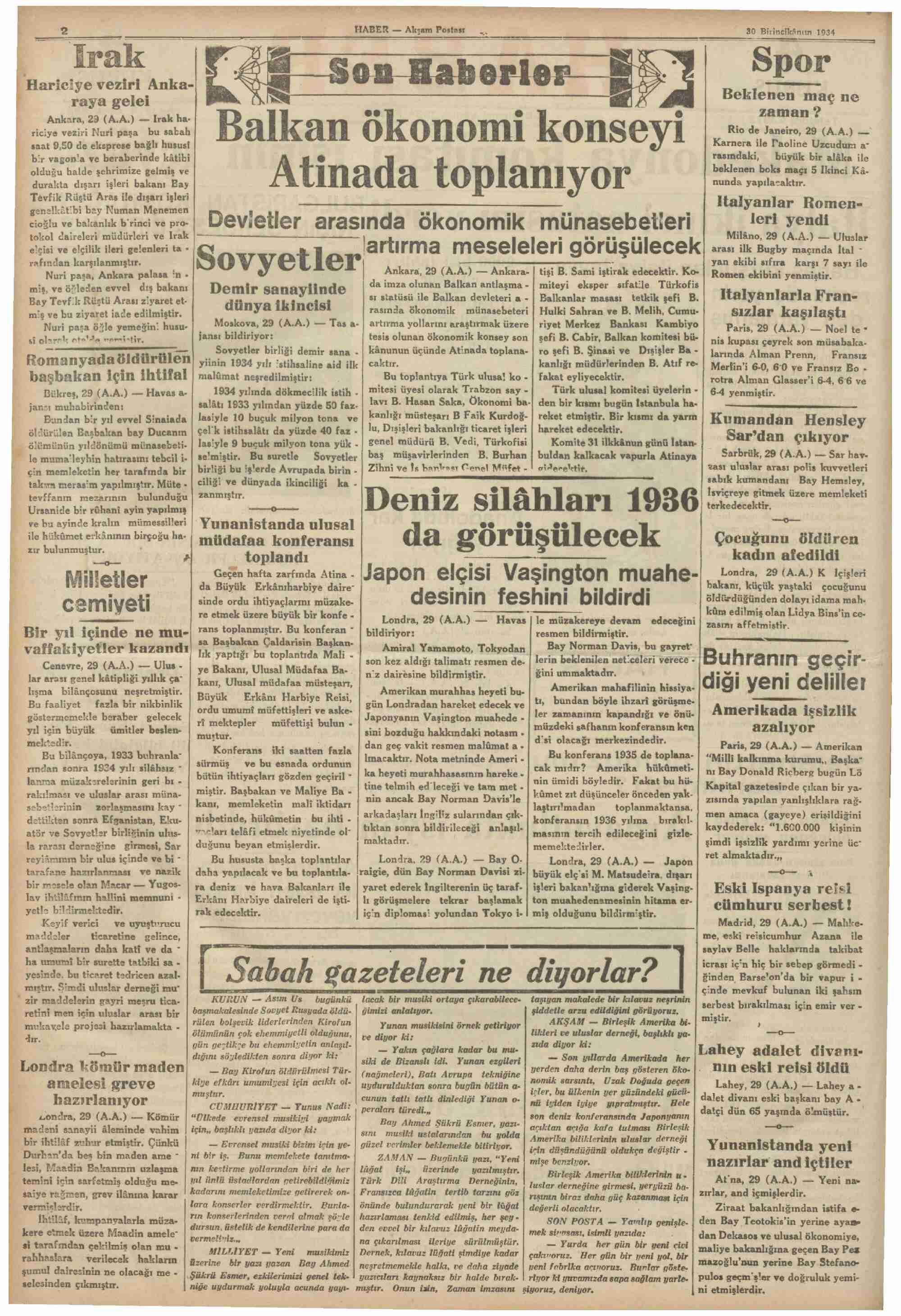 30 Aralık 1934 Tarihli Haber Gazetesi Sayfa 2
