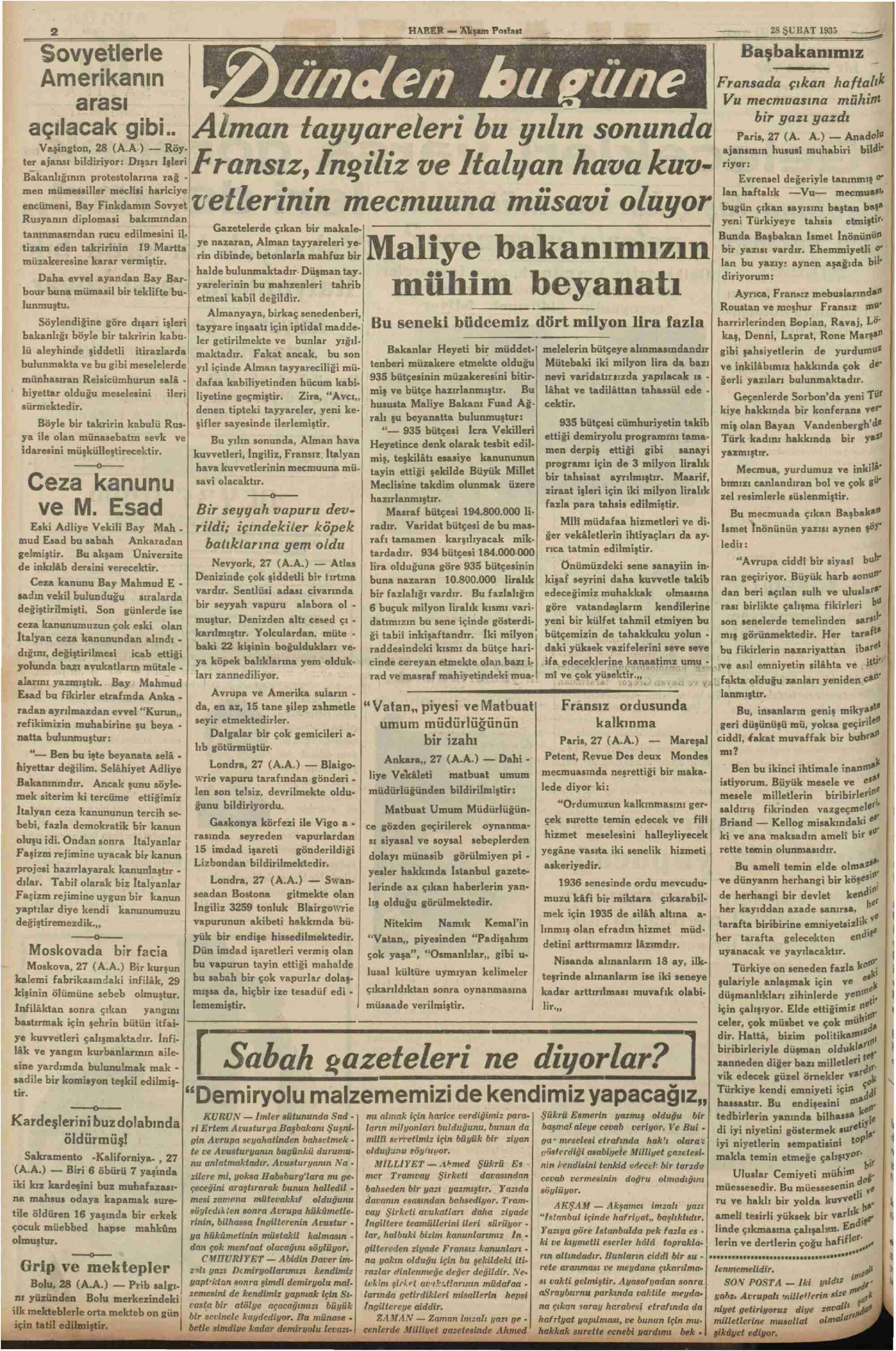 28 Şubat 1935 Tarihli Haber Gazetesi Sayfa 2