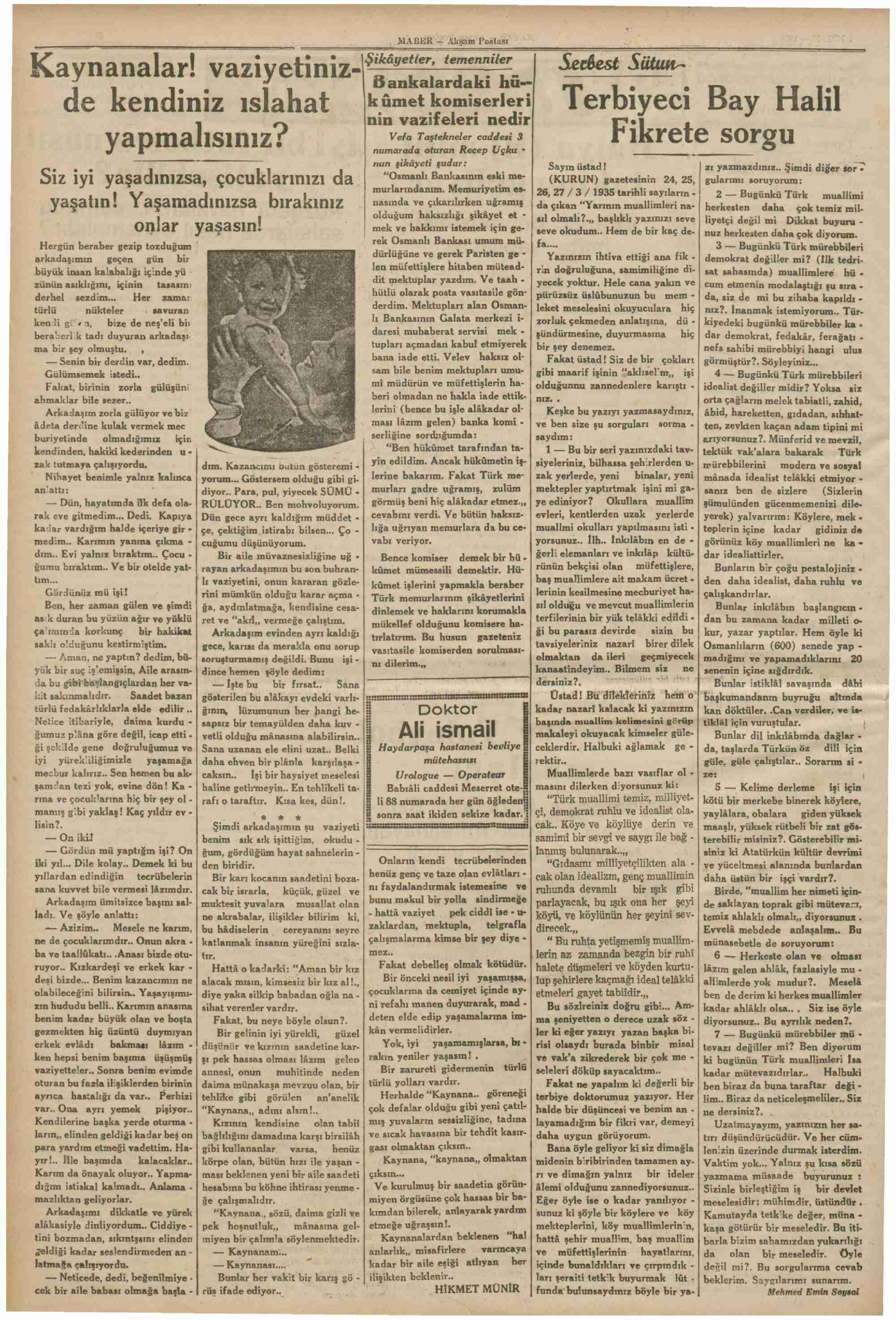 1 Nisan 1935 Tarihli Haber Gazetesi Sayfa 6