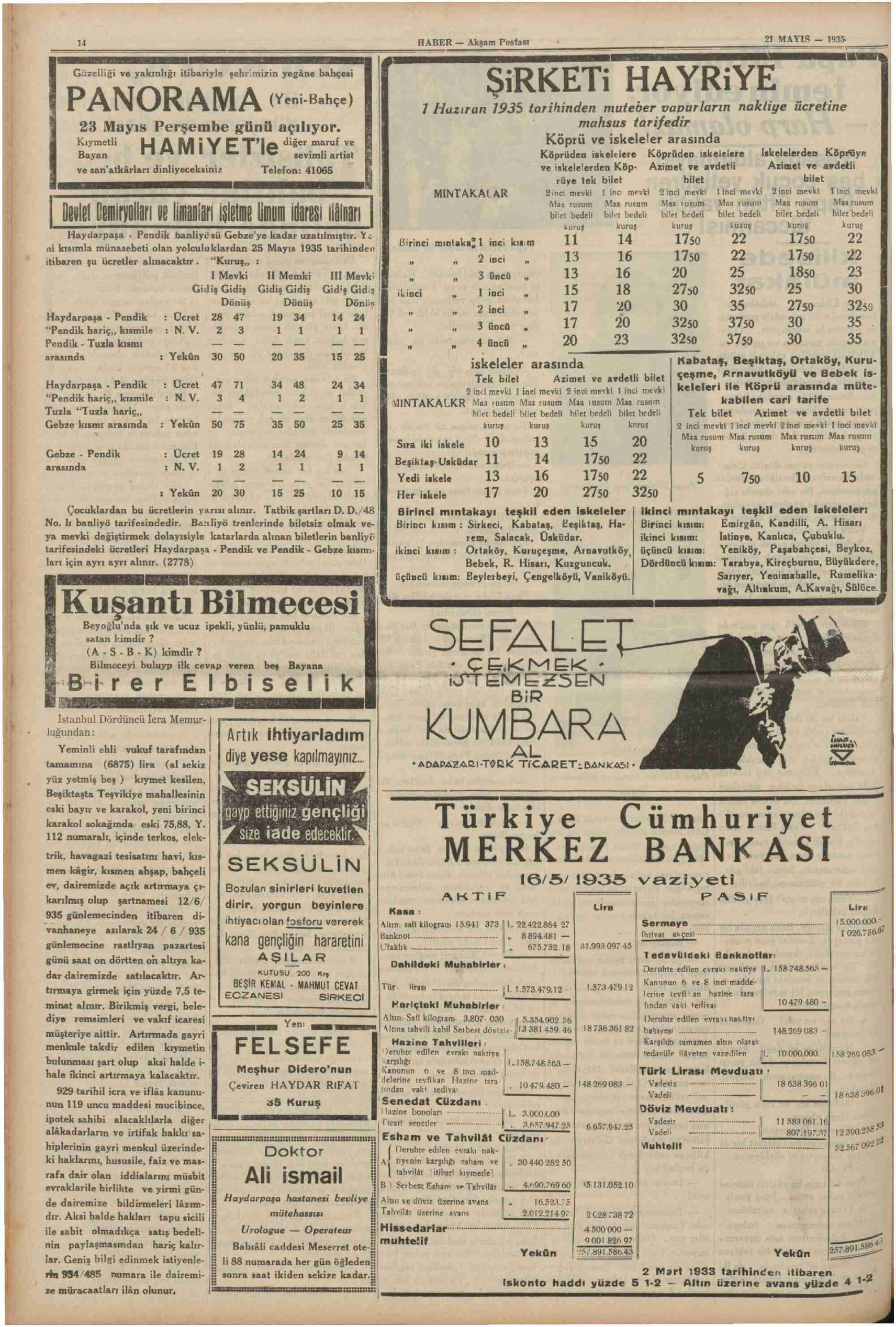 May 21, 1935 Tarihli Haber Dergisi Sayfa 14