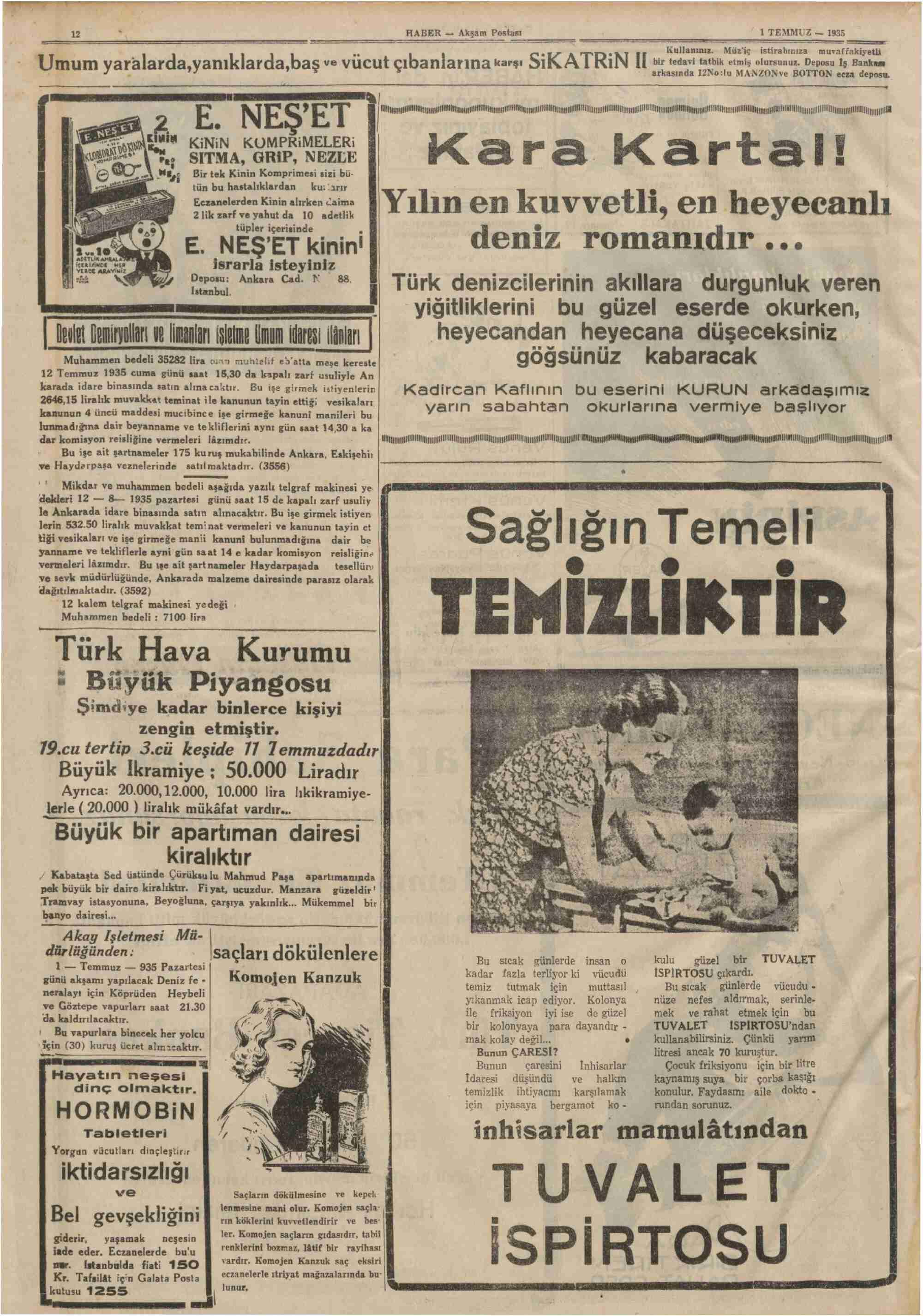 1 Temmuz 1935 Tarihli Haber Gazetesi Sayfa 12