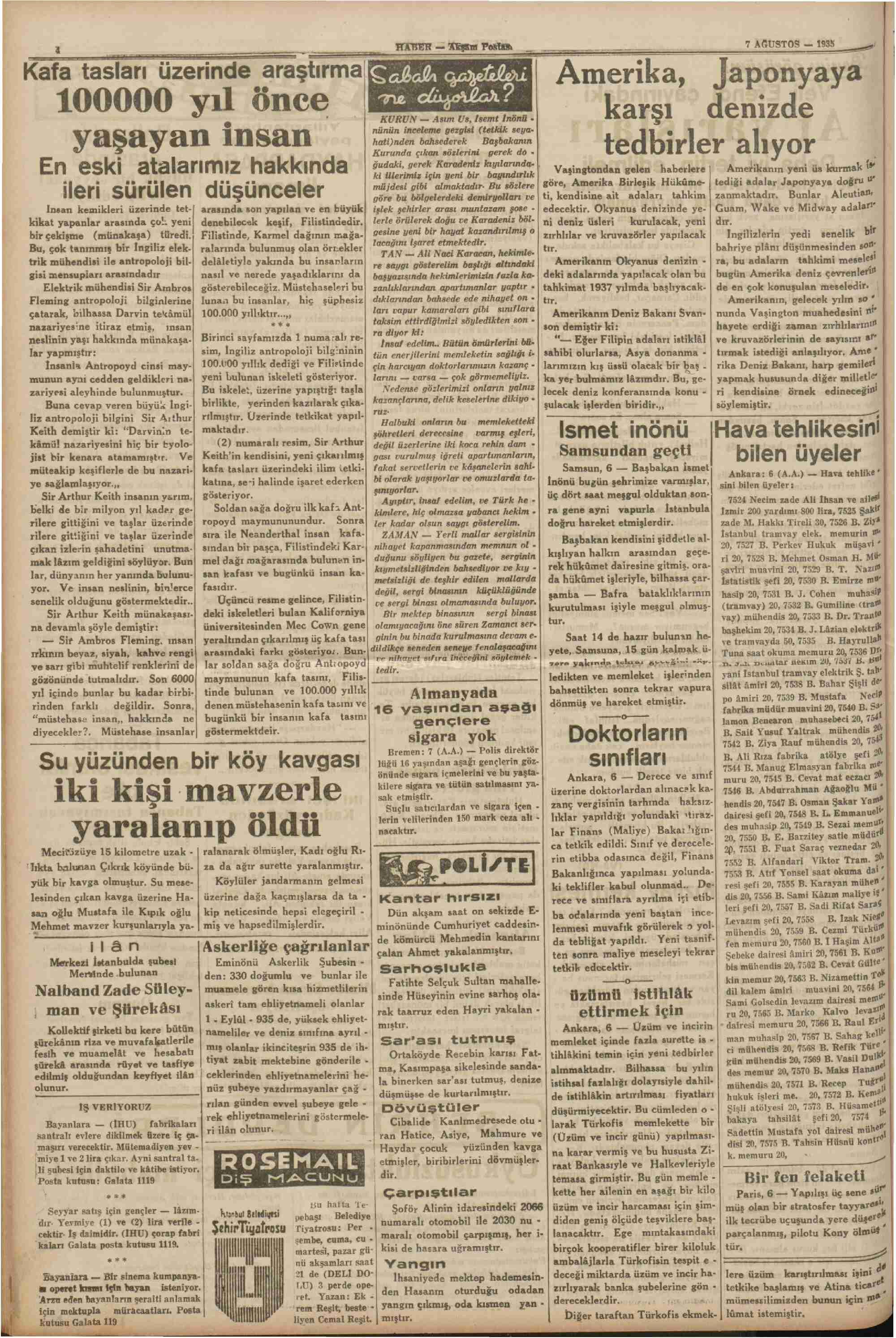 7 Ağustos 1935 Tarihli Haber Gazetesi Sayfa 4