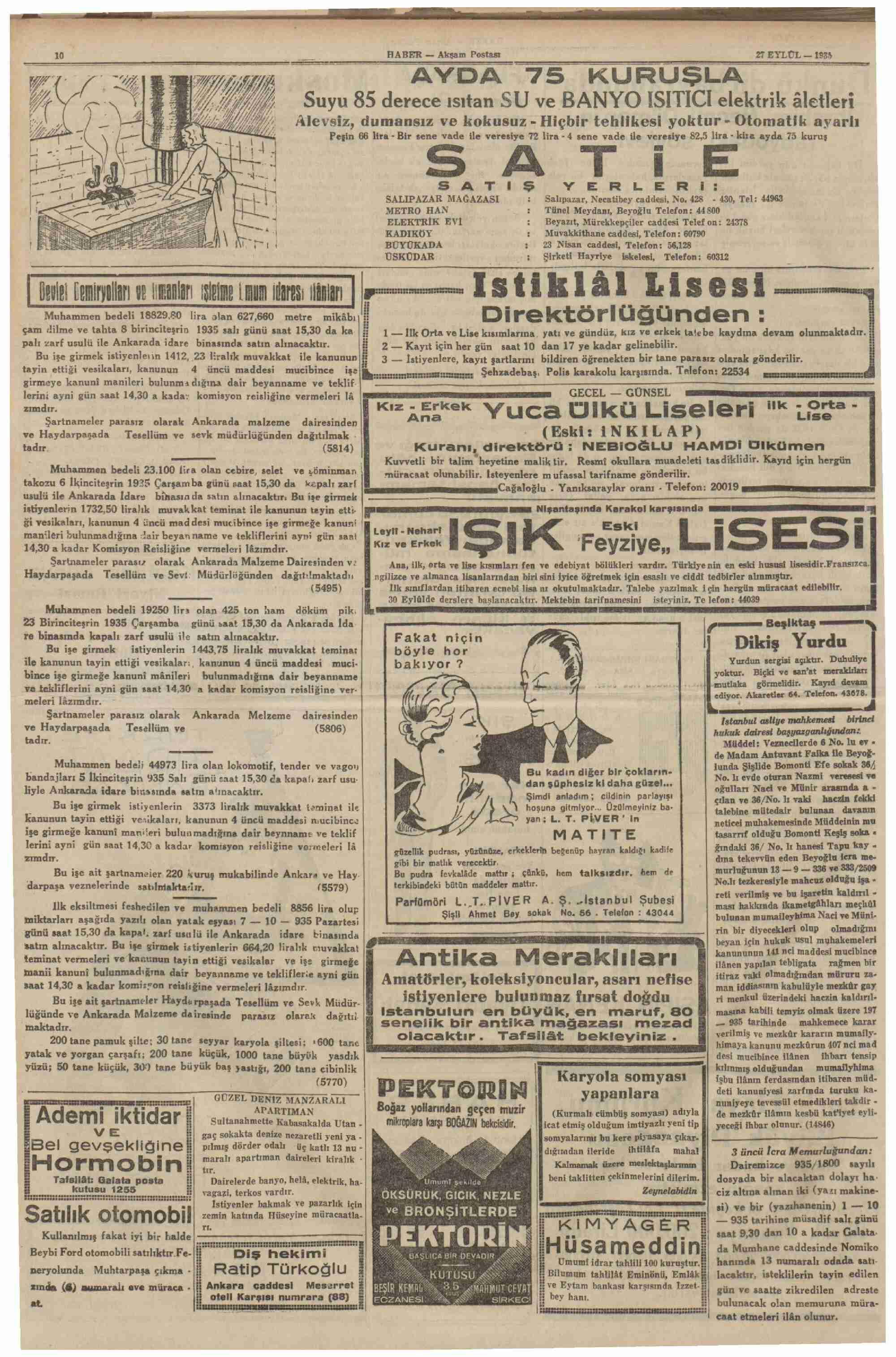 27 Eylül 1935 Tarihli Haber Dergisi Sayfa 11