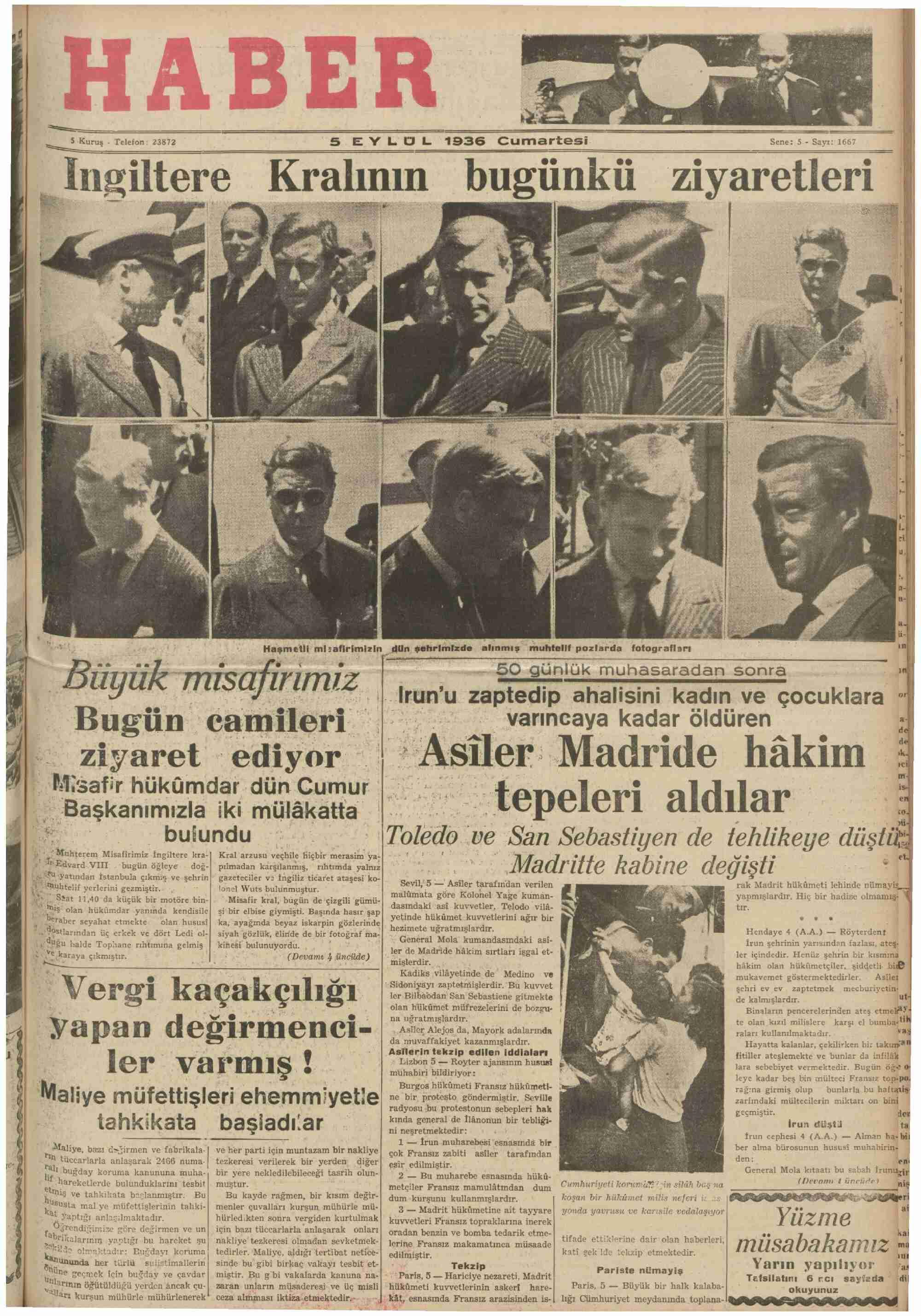 5 Eylül 1936 Tarihli Haber Gazetesi Sayfa 1