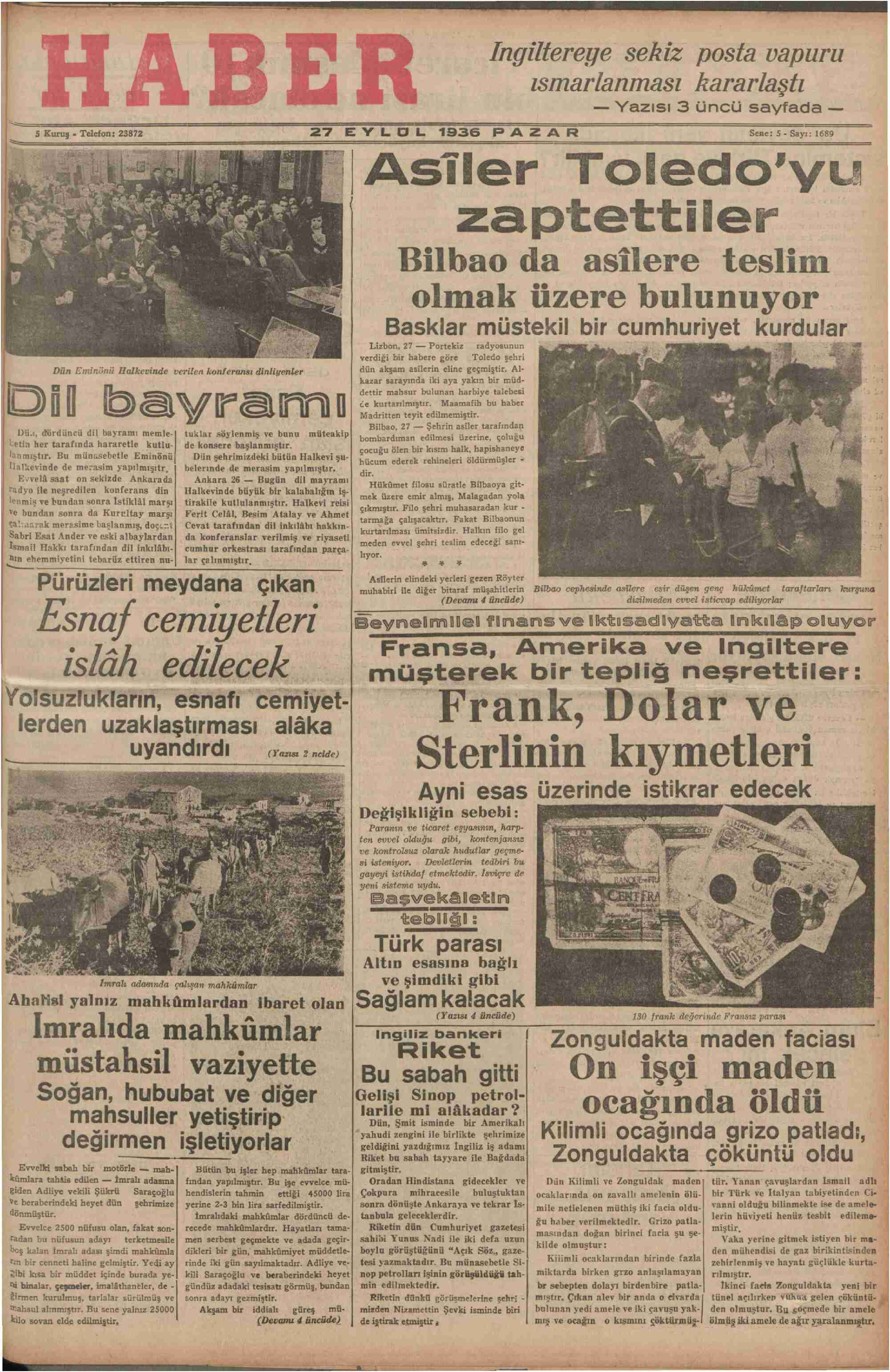 27 Eylül 1936 Tarihli Haber Gazetesi Sayfa 1