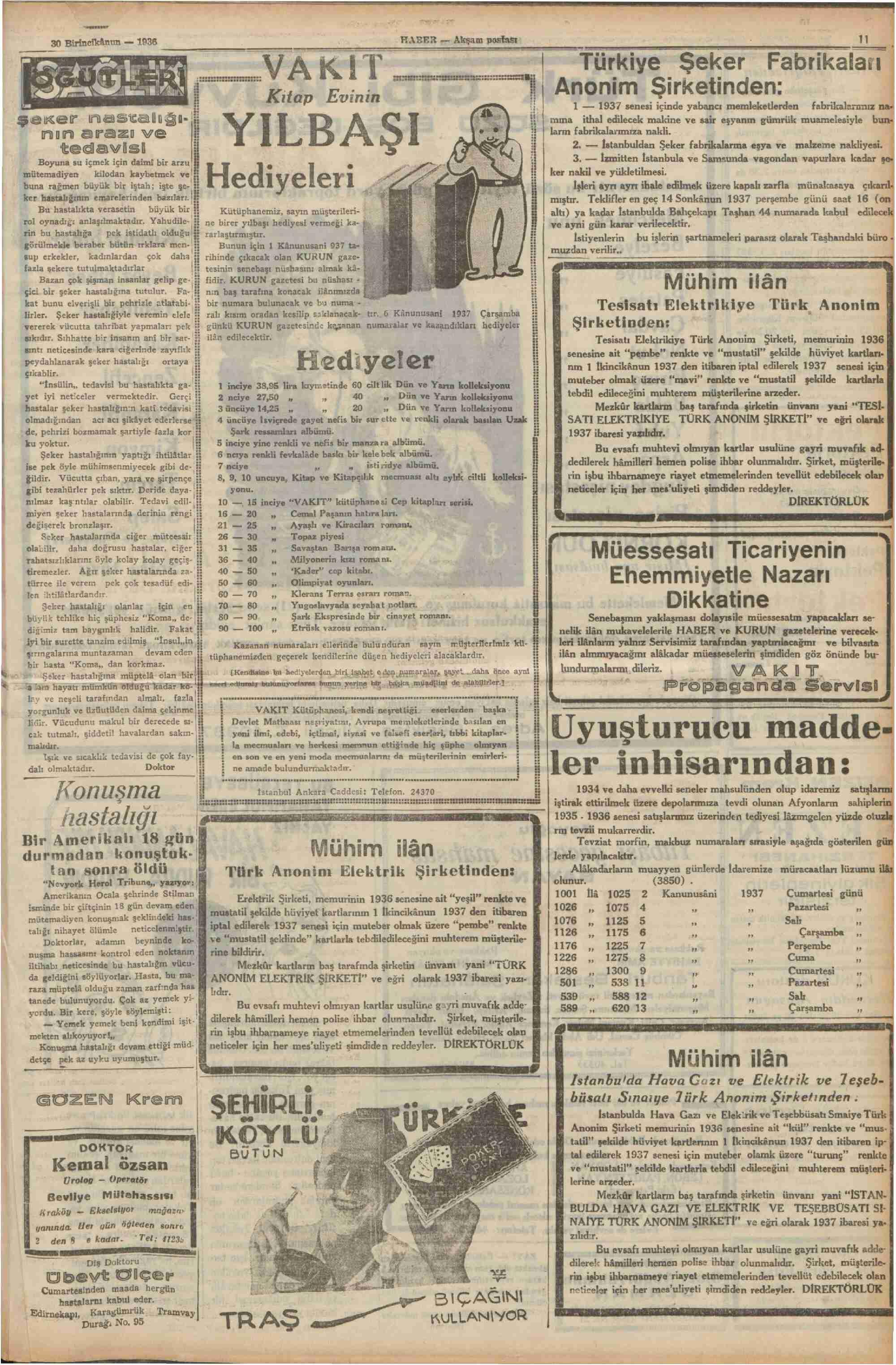 30 Aralık 1936 Tarihli Haber Gazetesi Sayfa 11