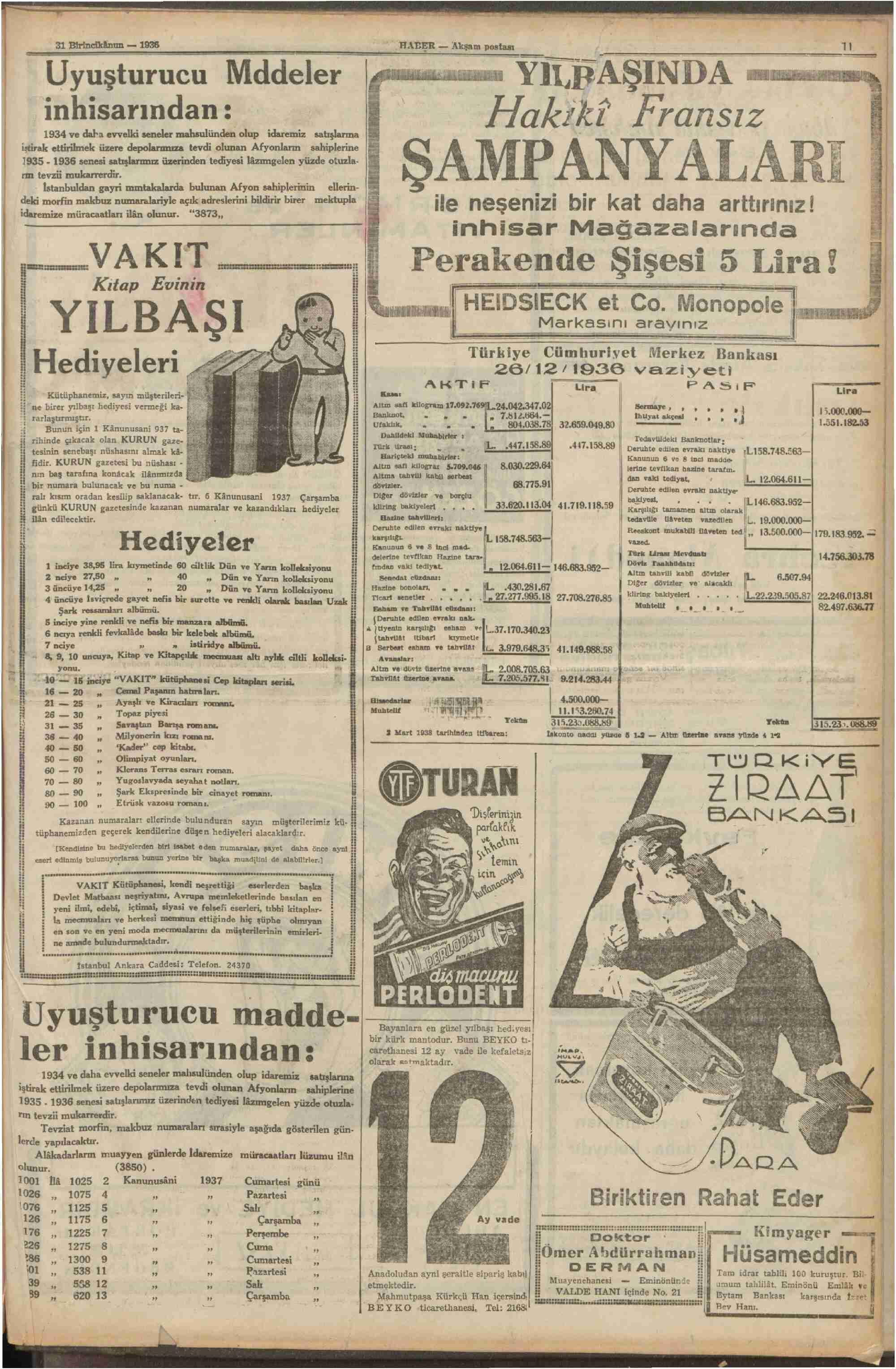31 Aralık 1936 Tarihli Haber Gazetesi Sayfa 11