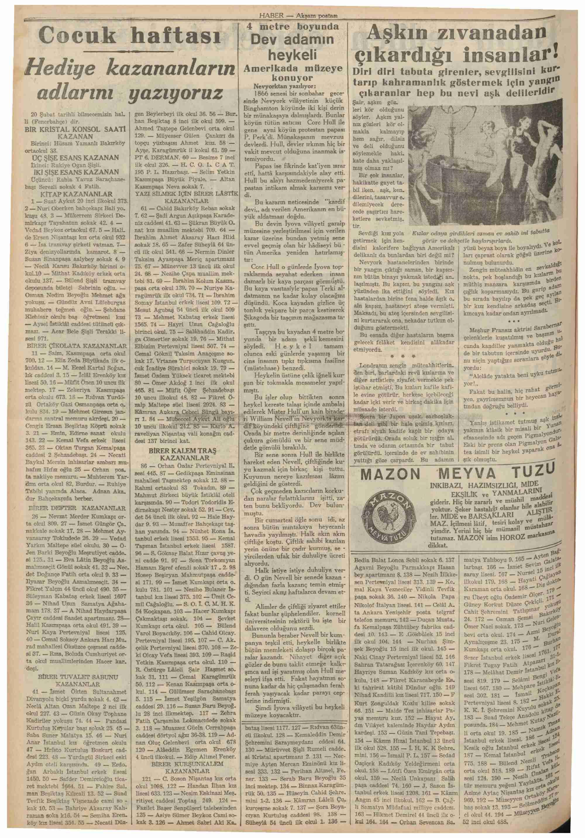11 Mart 1937 Tarihli Haber Dergisi Sayfa 10