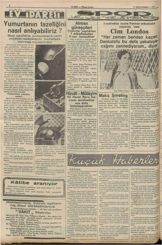 11 Kasım 1937 Tarihli Haber Dergisi Sayfa 6