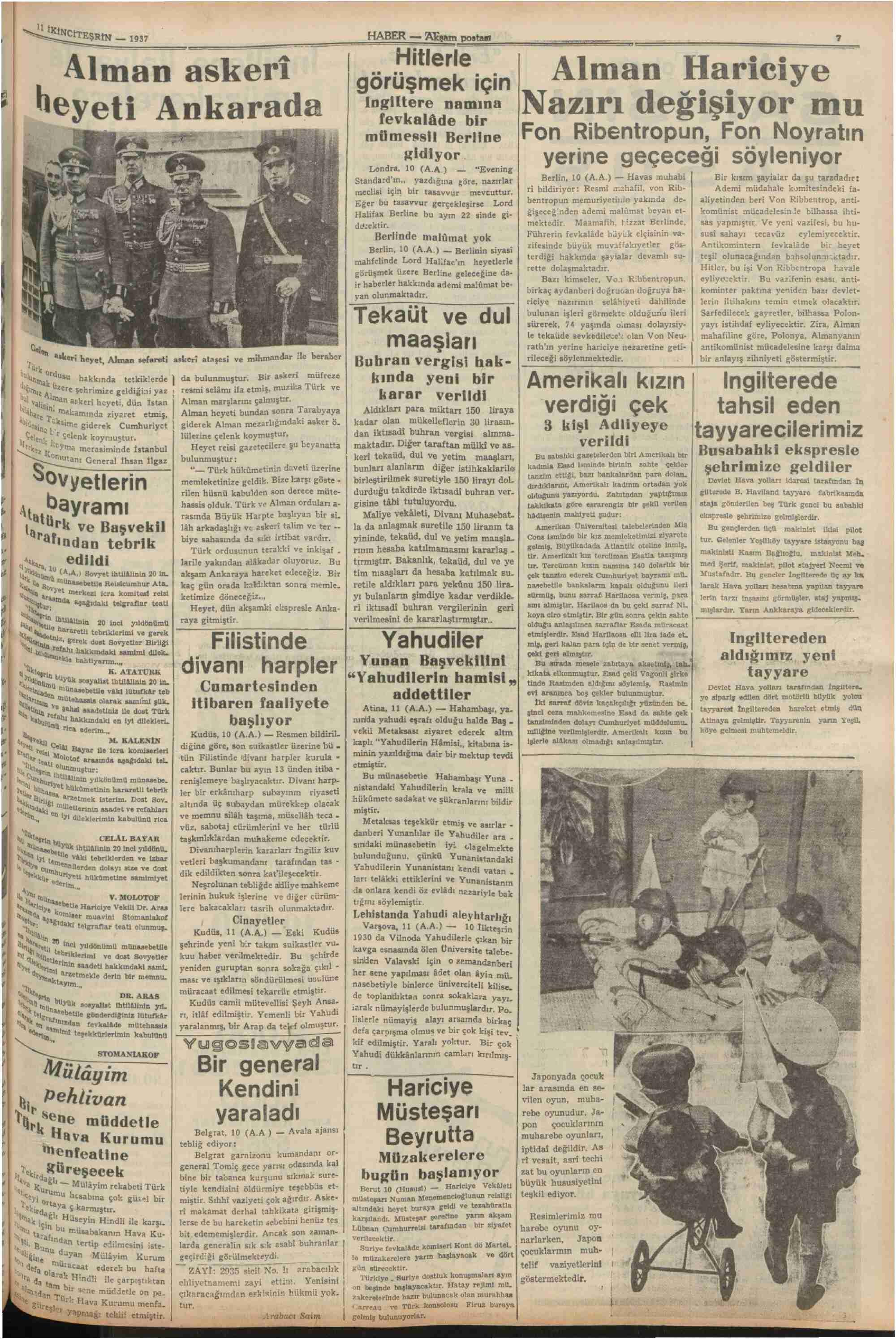 11 Kasım 1937 Tarihli Haber Gazetesi Sayfa 7