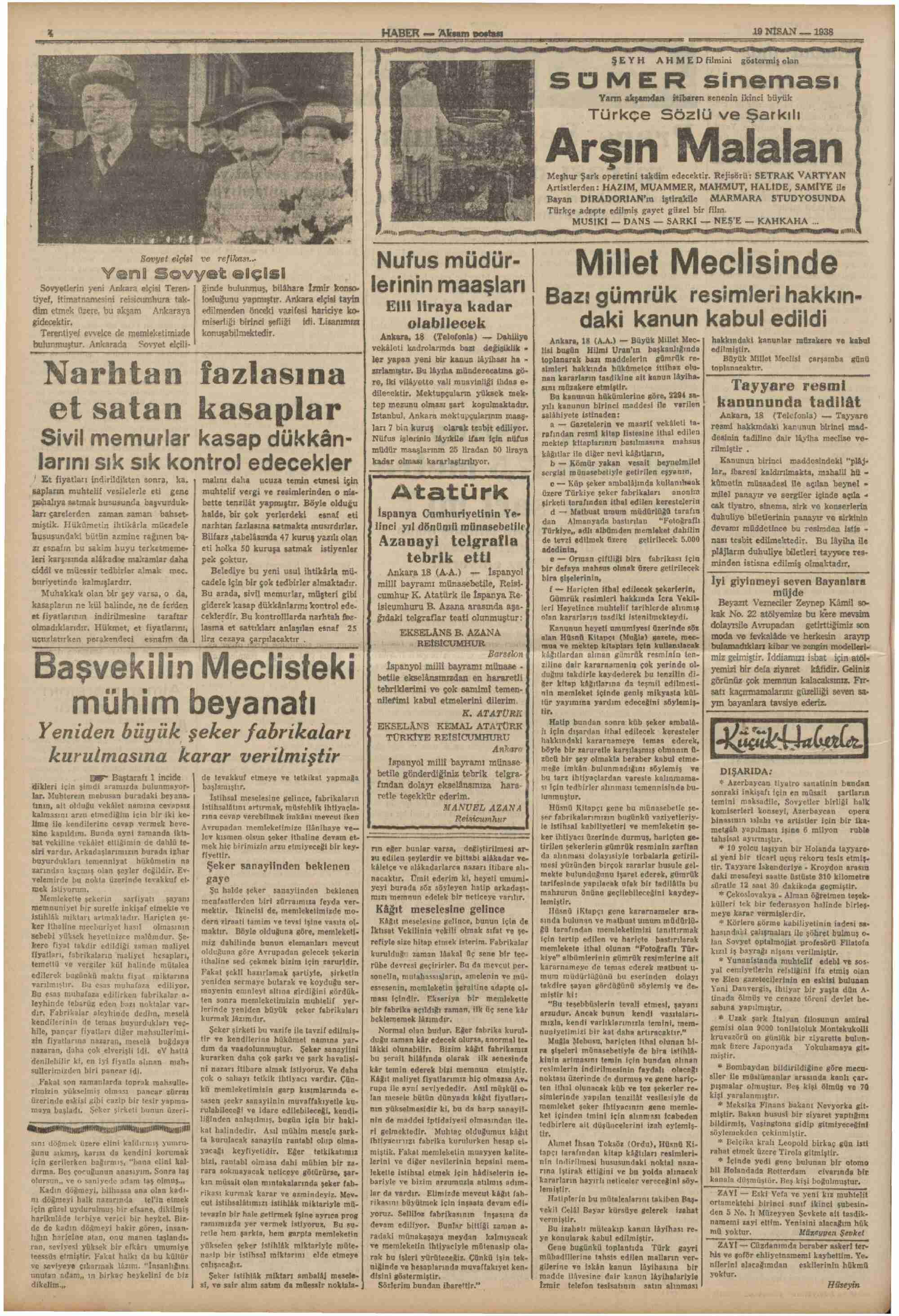 19 Nisan 1938 tarihli Haber Gazetesi Sayfa 4