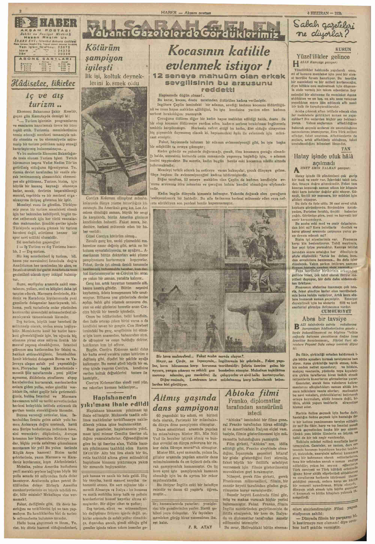 4 Haziran 1938 Tarihli Haber Gazetesi Sayfa 2
