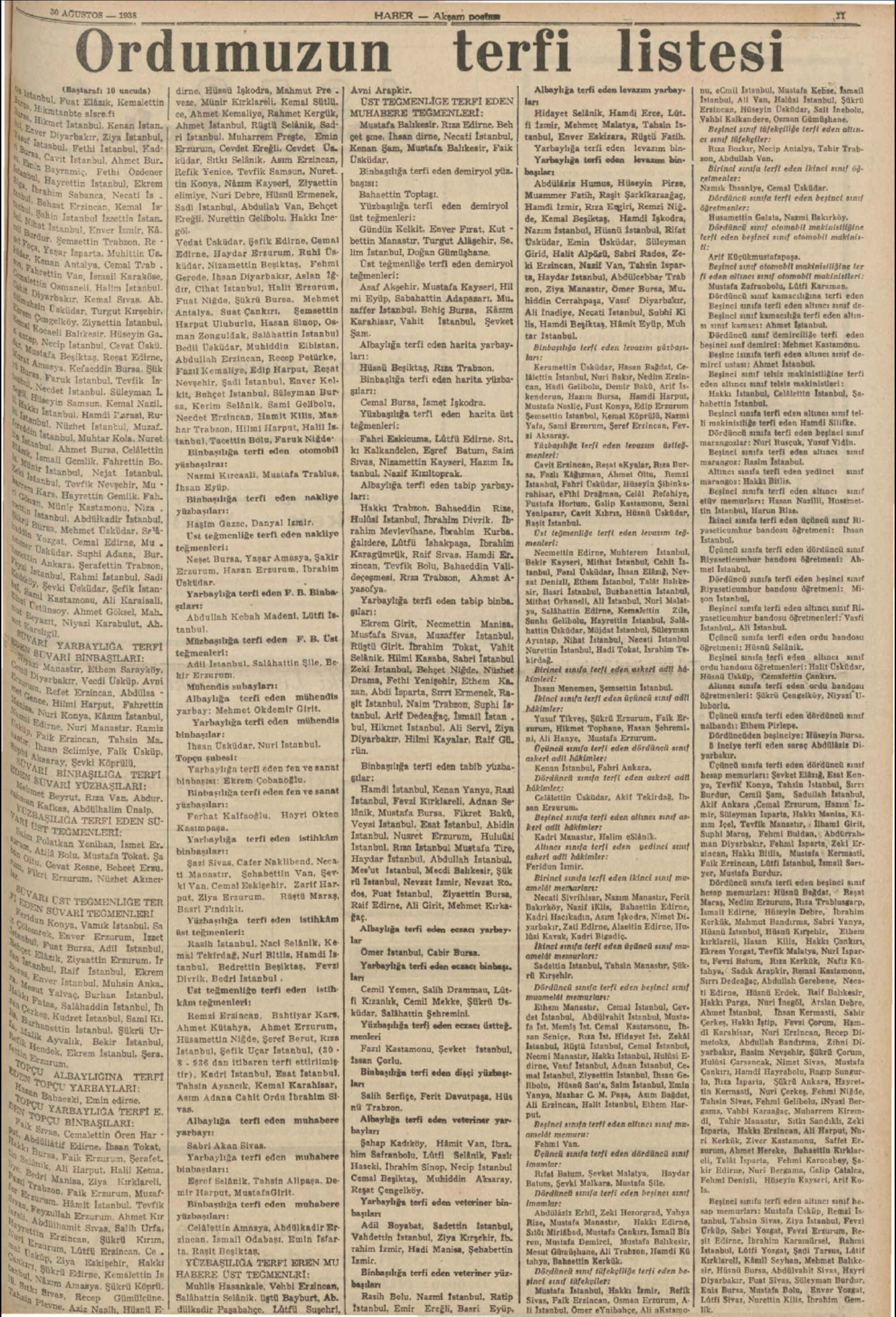 30 Ağustos 1938 Tarihli Haber Gazetesi Sayfa 11