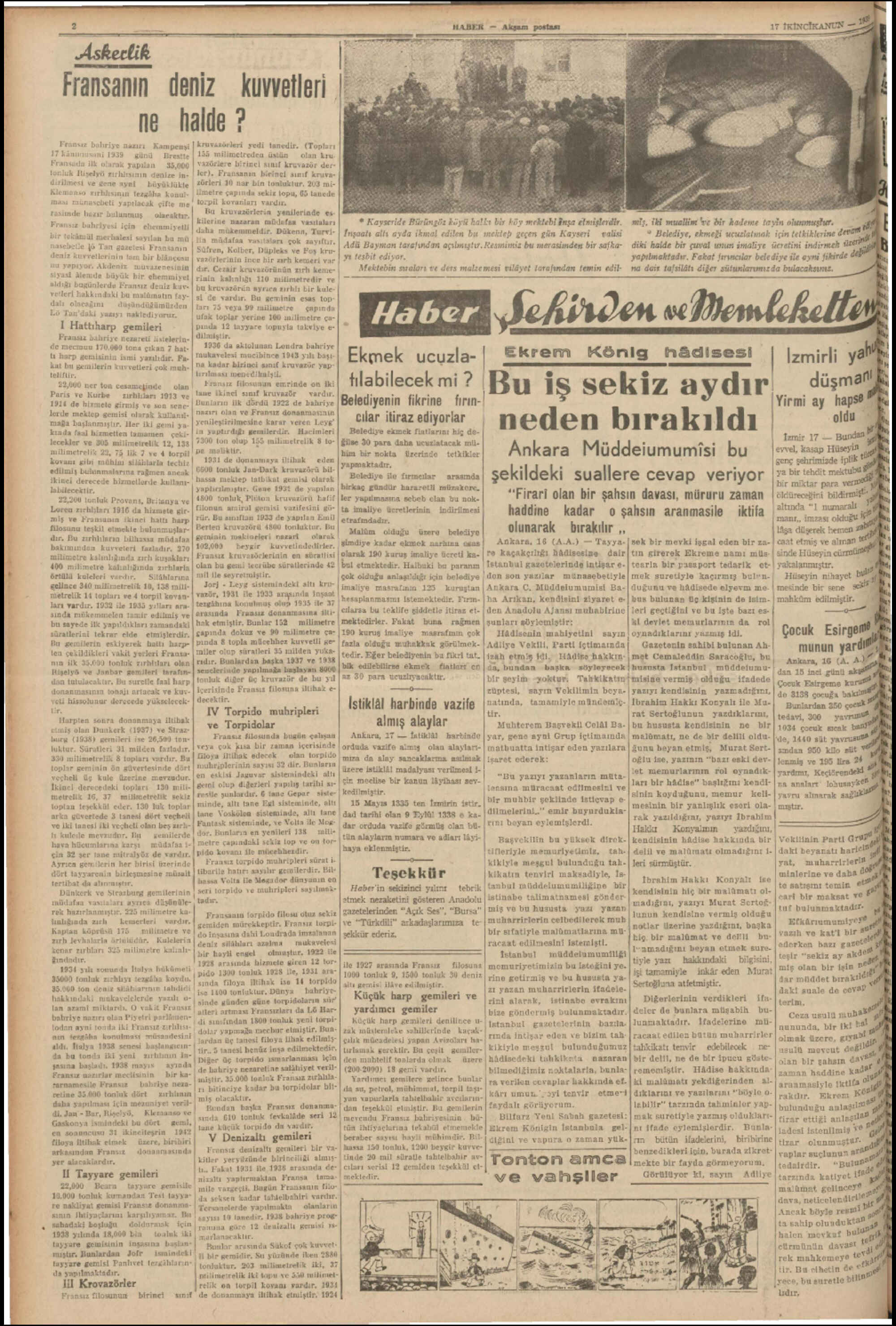 17 Ocak 1939 Tarihli Haber Gazetesi Sayfa 2