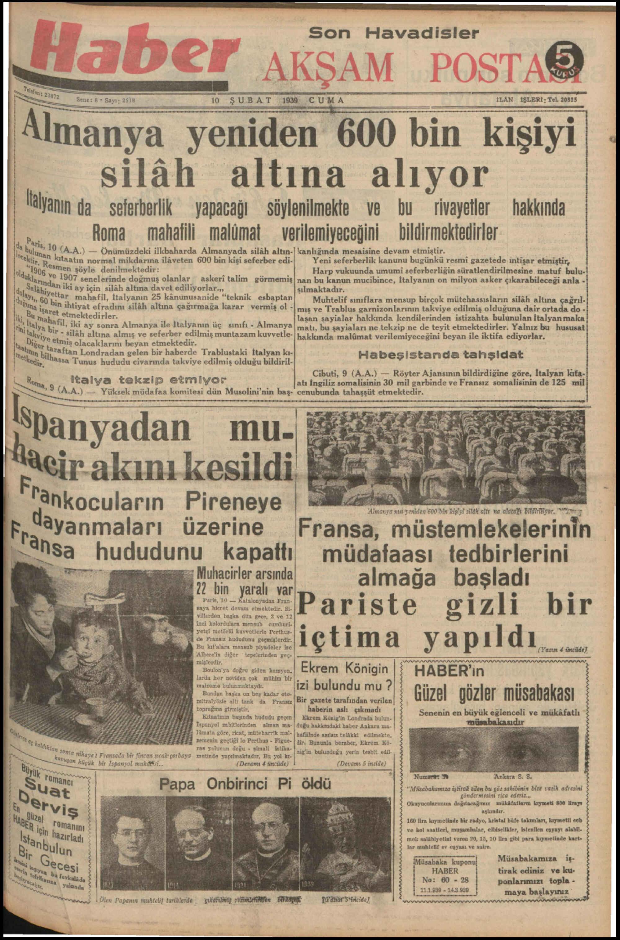 10 Şubat 1939 Tarihli Haber Gazetesi Sayfa 1