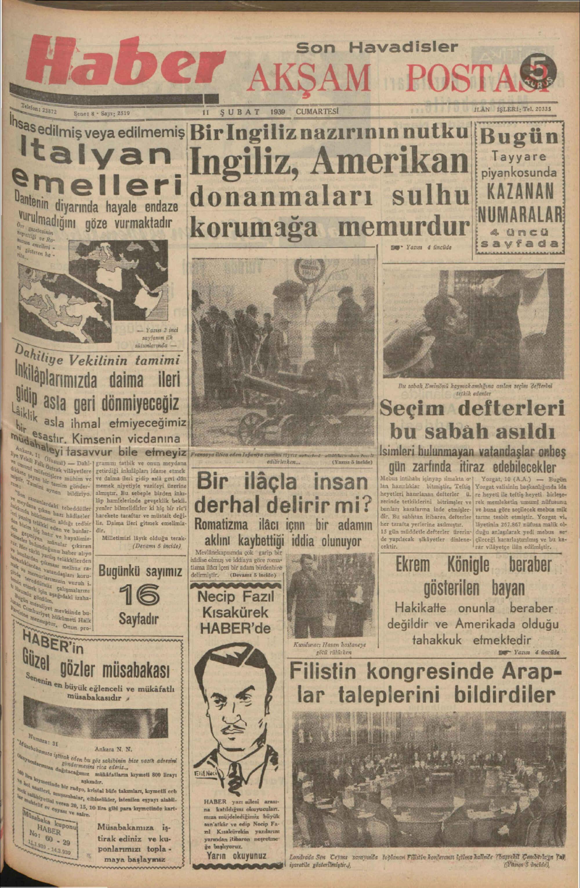 11 Şubat 1939 Tarihli Haber Gazetesi Sayfa 1