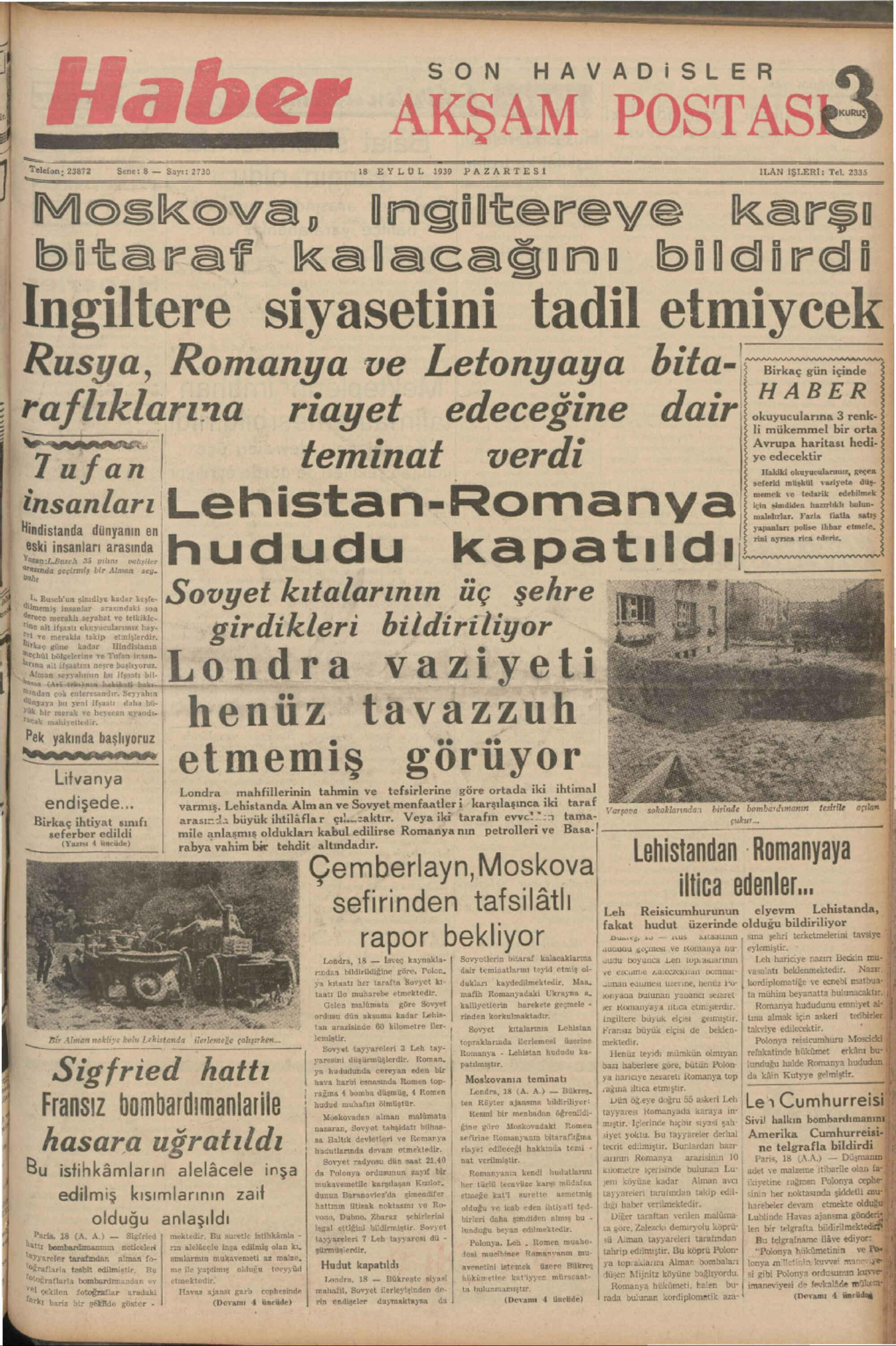 18 Eylül 1939 Tarihli Haber Dergisi Sayfa 1